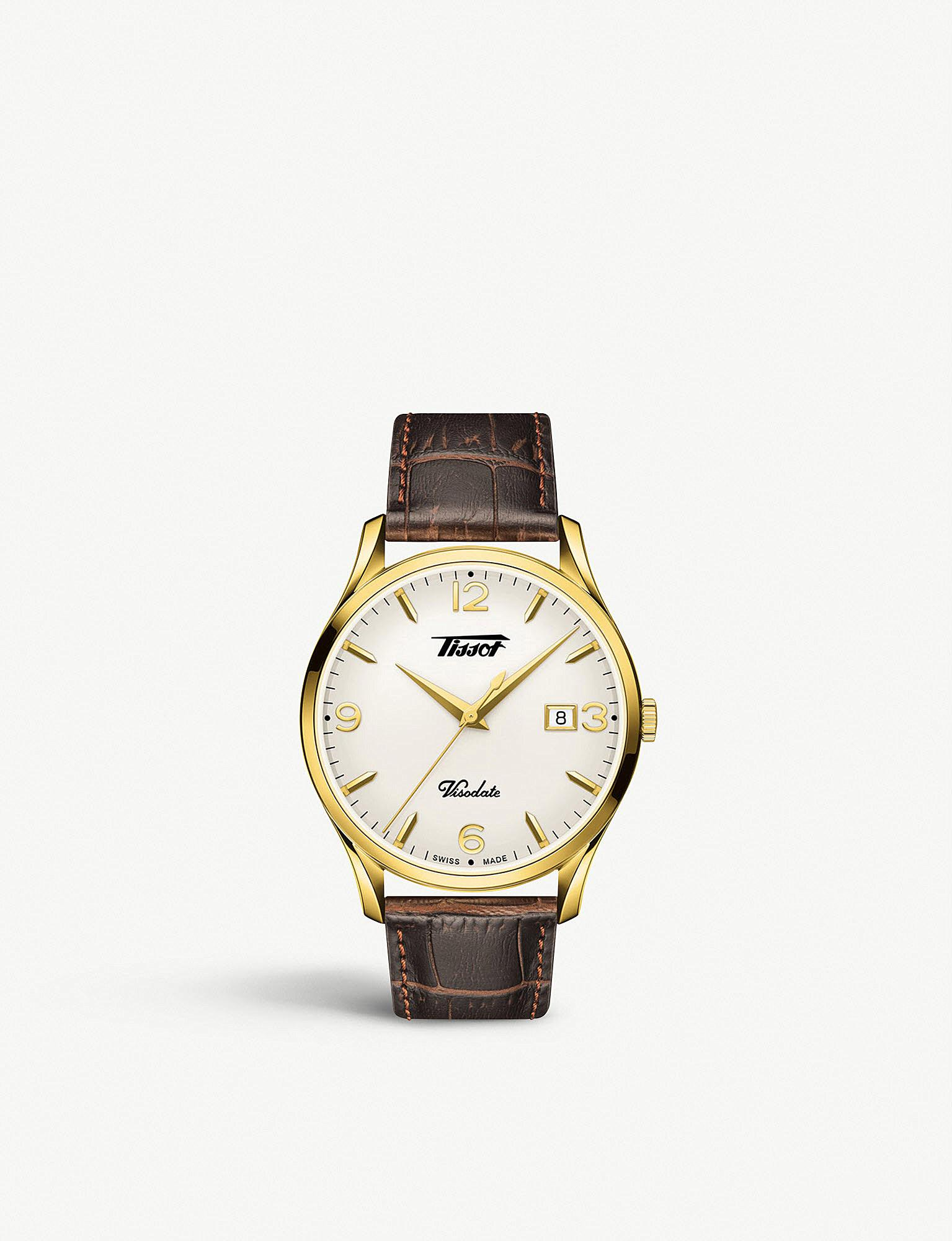 Lyst Tissot T1184103627700 Heritage Visodate Yellow Gold Fossil Idealist Silver Es4194 View Fullscreen