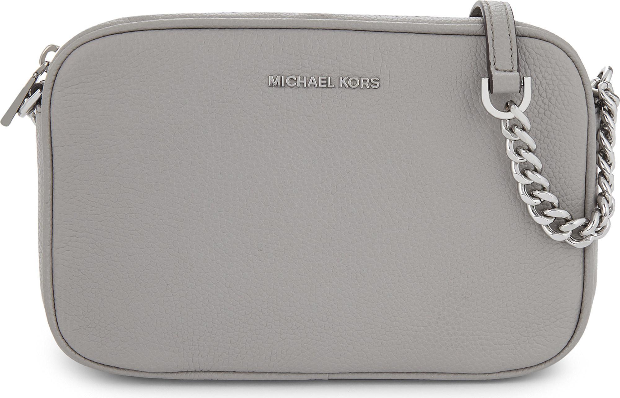 16f48df46b4d7 MICHAEL Michael Kors - Gray Ginny Medium Grained Leather Cross-body Bag -  Lyst
