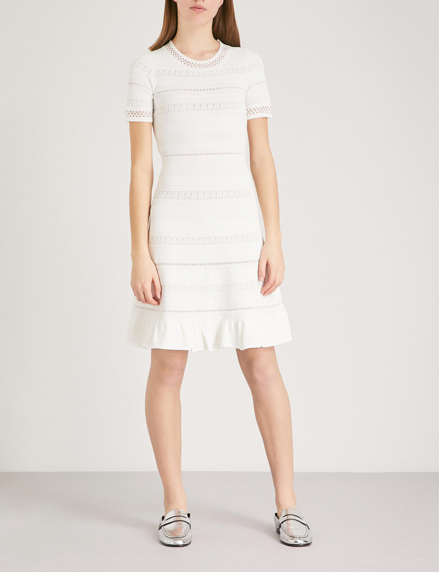 Sandro Synthetic Ribbed Knit Dress In Ecru White Lyst