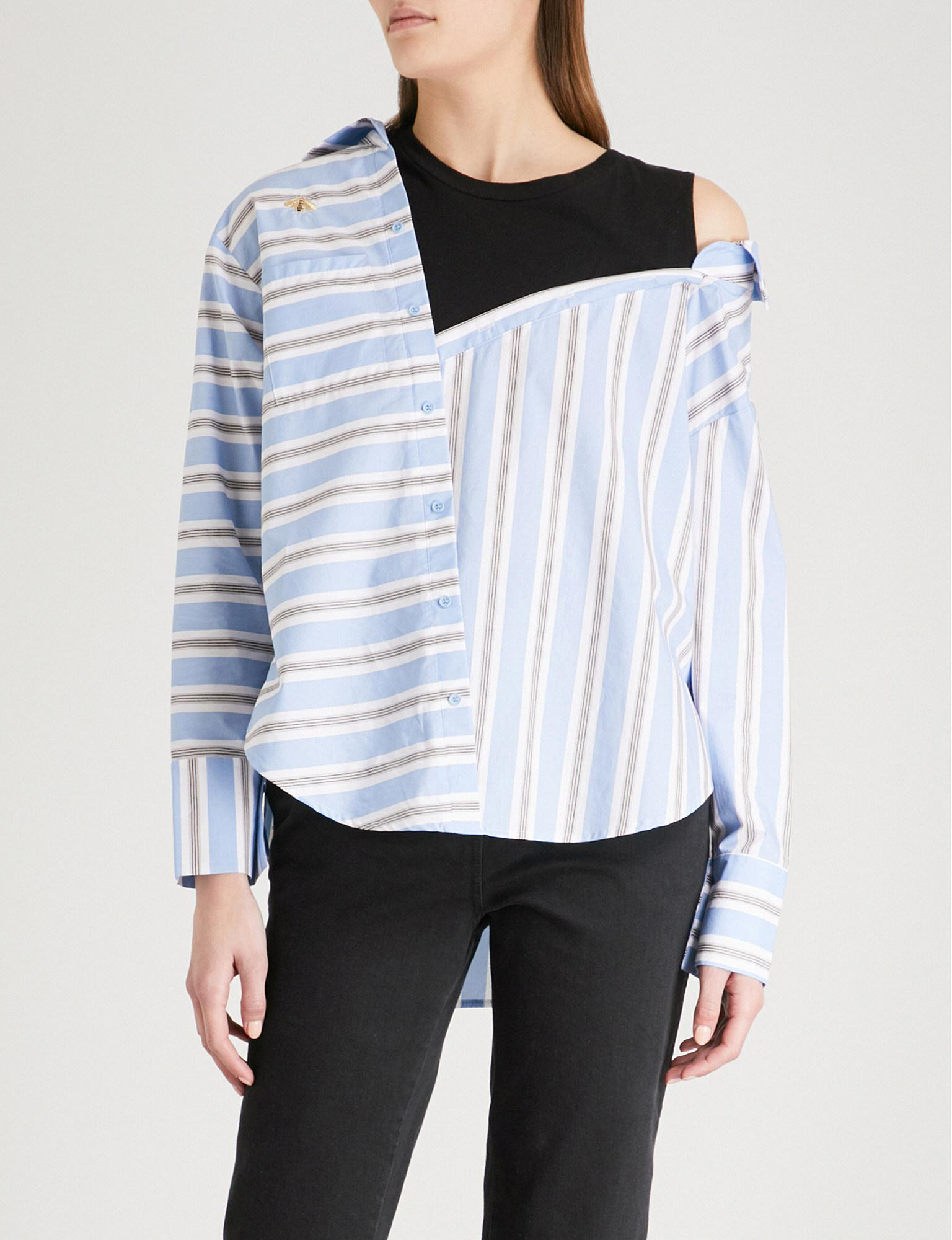 95b1e80578 Maje Striped Cotton And Jersey Shirt in Blue - Lyst