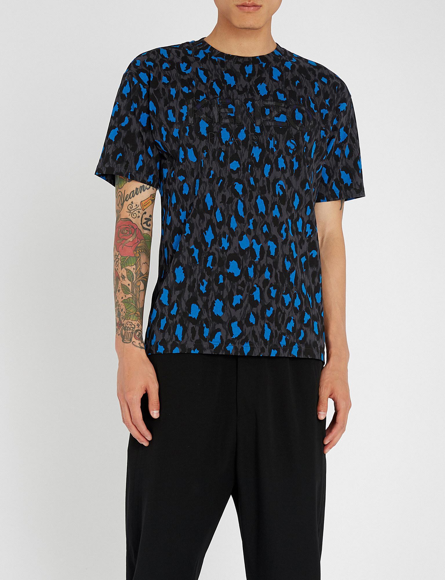 b67b8de9121e KENZO Straight Leo Print T-shirt in Blue for Men - Lyst