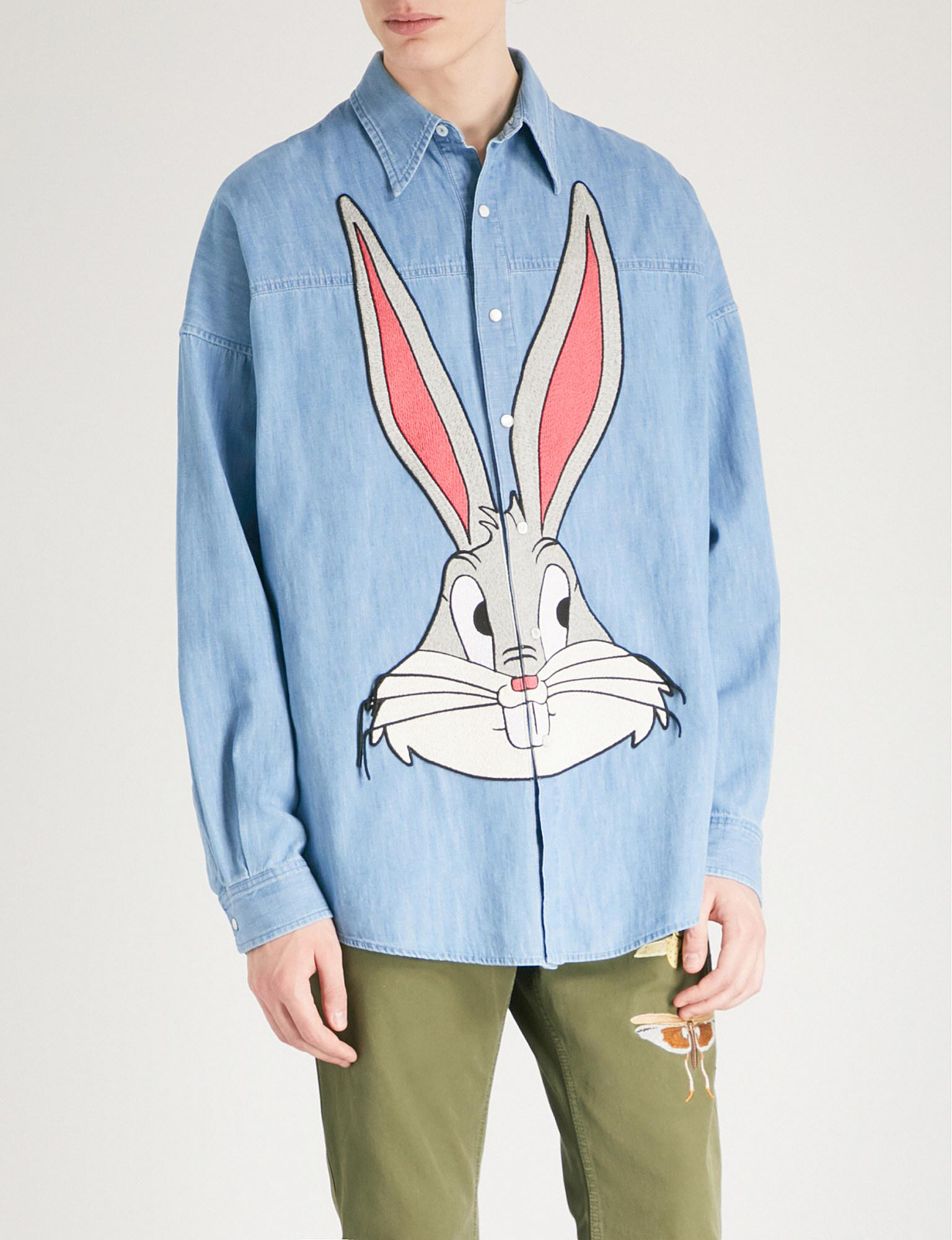 24f8121c852 Gucci Bugs Bunny Regular-fit Denim Shirt in Blue for Men - Lyst