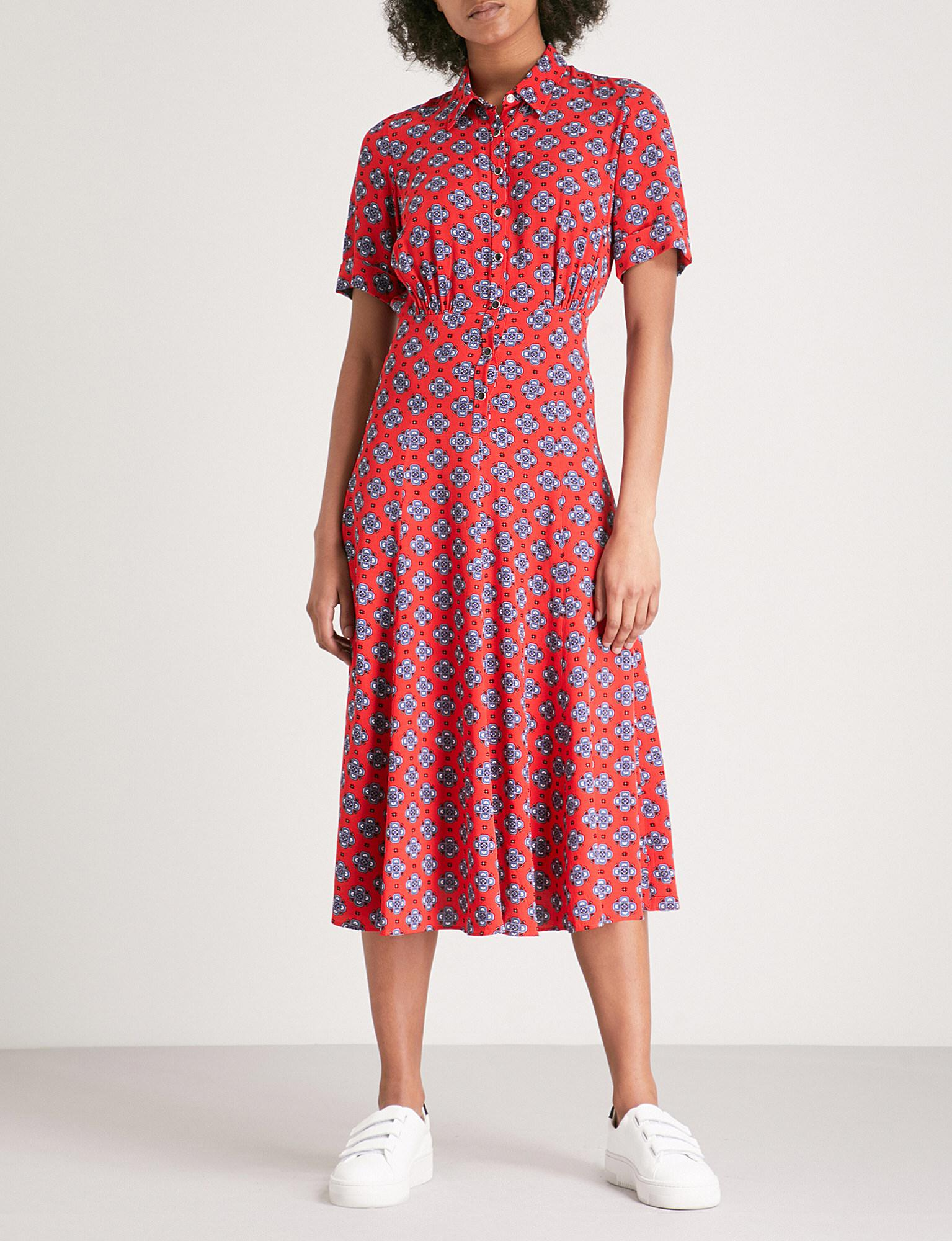 a9afd1d20c2f Lyst - Sandro Floral-pattern Woven Midi Dress in Red - Save 7%