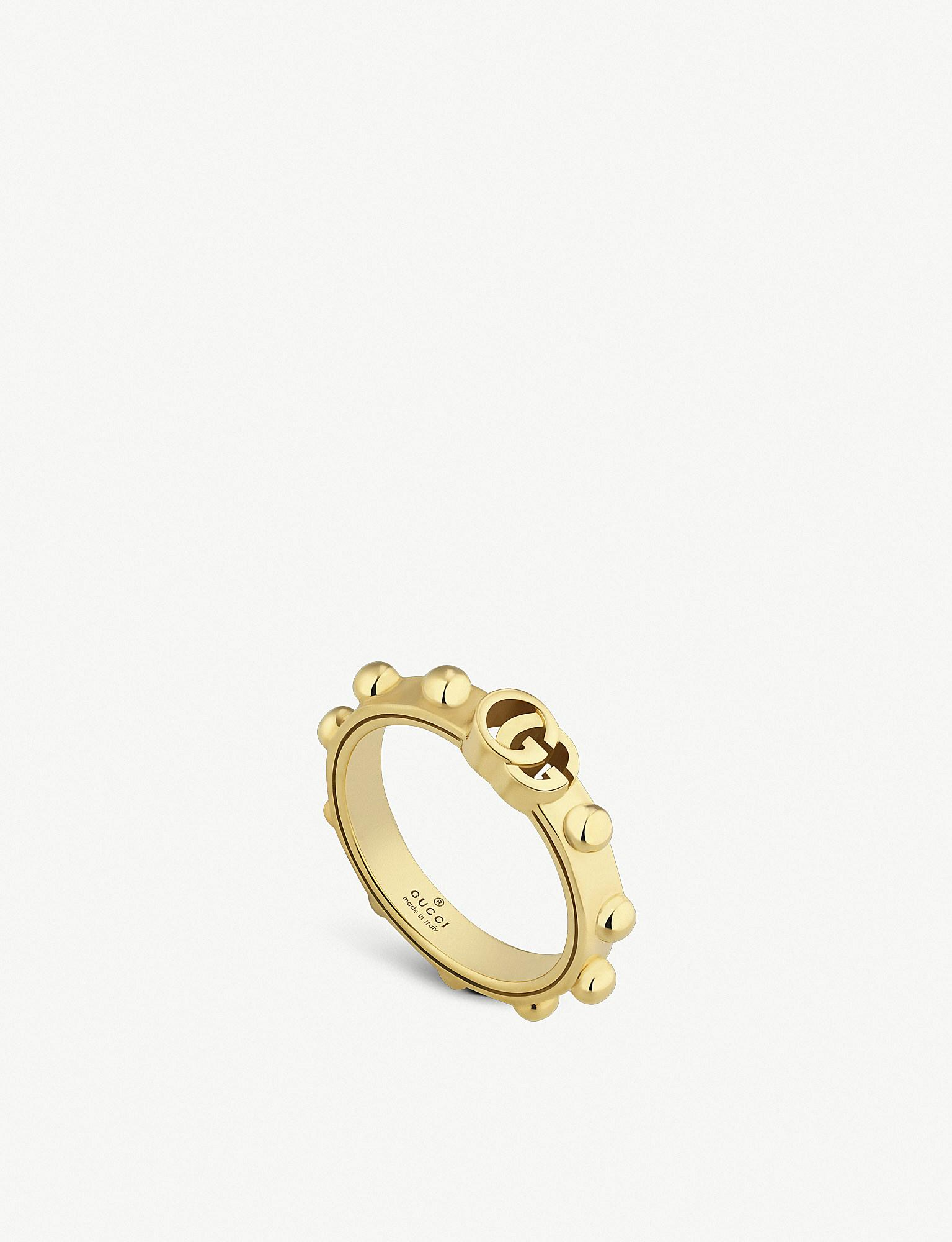 ed80fa204 Gucci GG Running 18ct Yellow-gold Ring in Yellow - Lyst