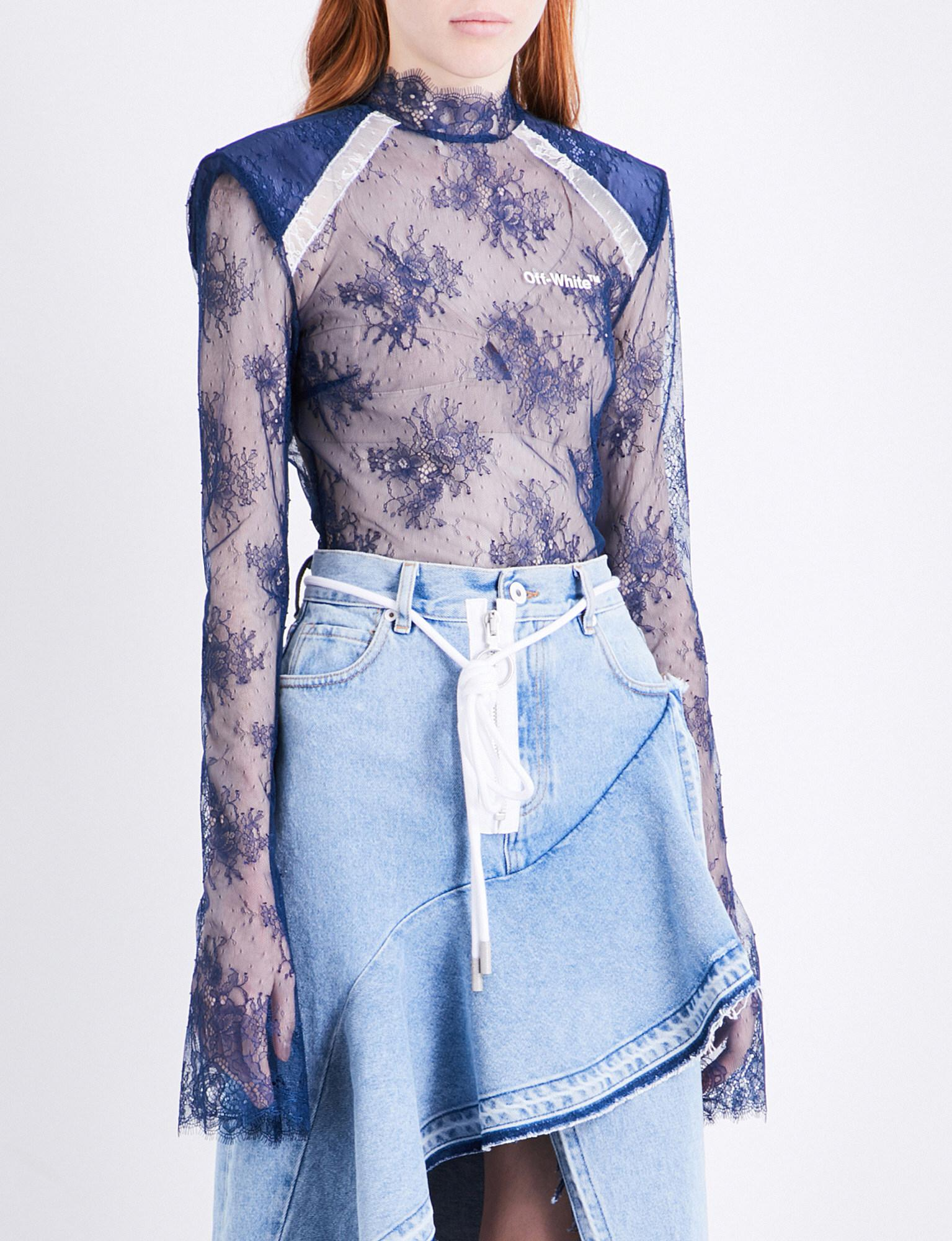 e600ece57a Lyst - Off-White c o Virgil Abloh High-neck Lace Top in Blue