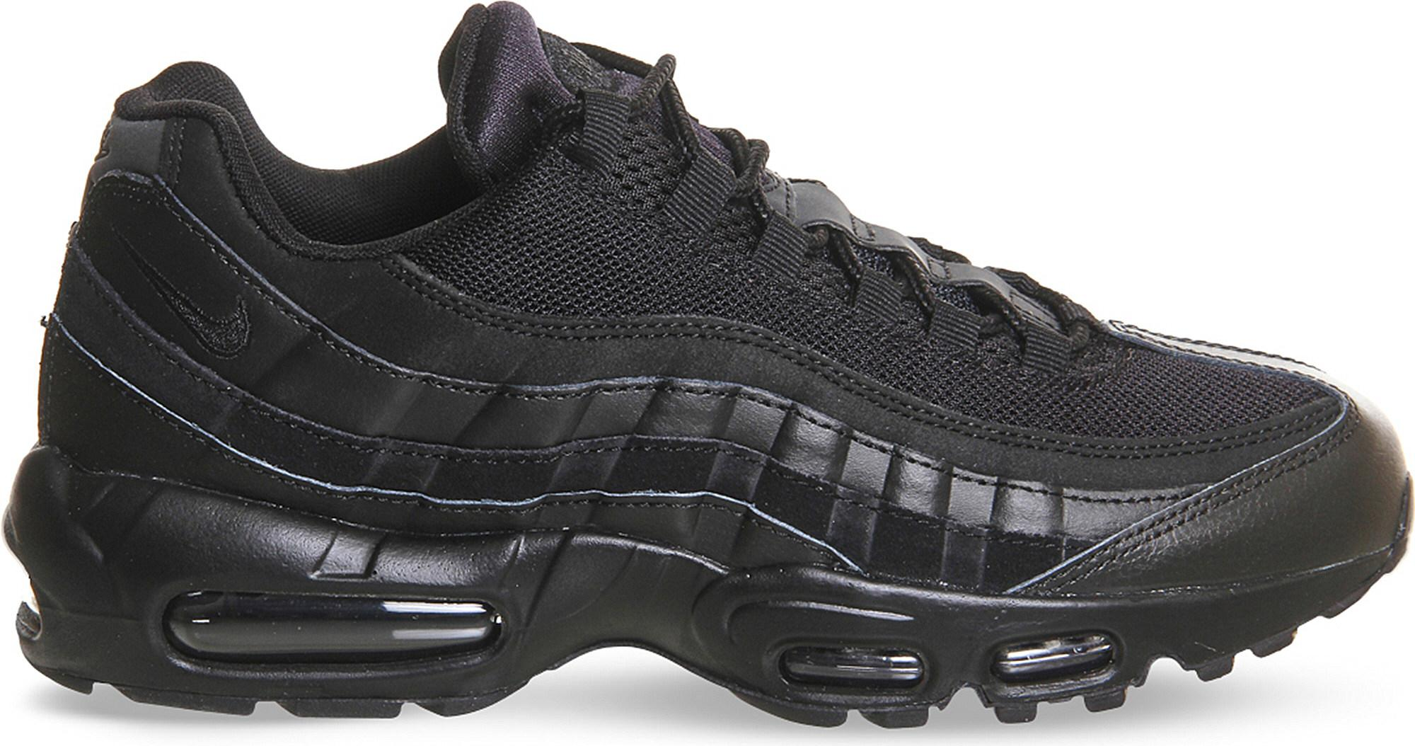 a4f9397f5a11d Lyst - Nike Air Max 95 Essential Mesh And Leather Trainers in Black ...