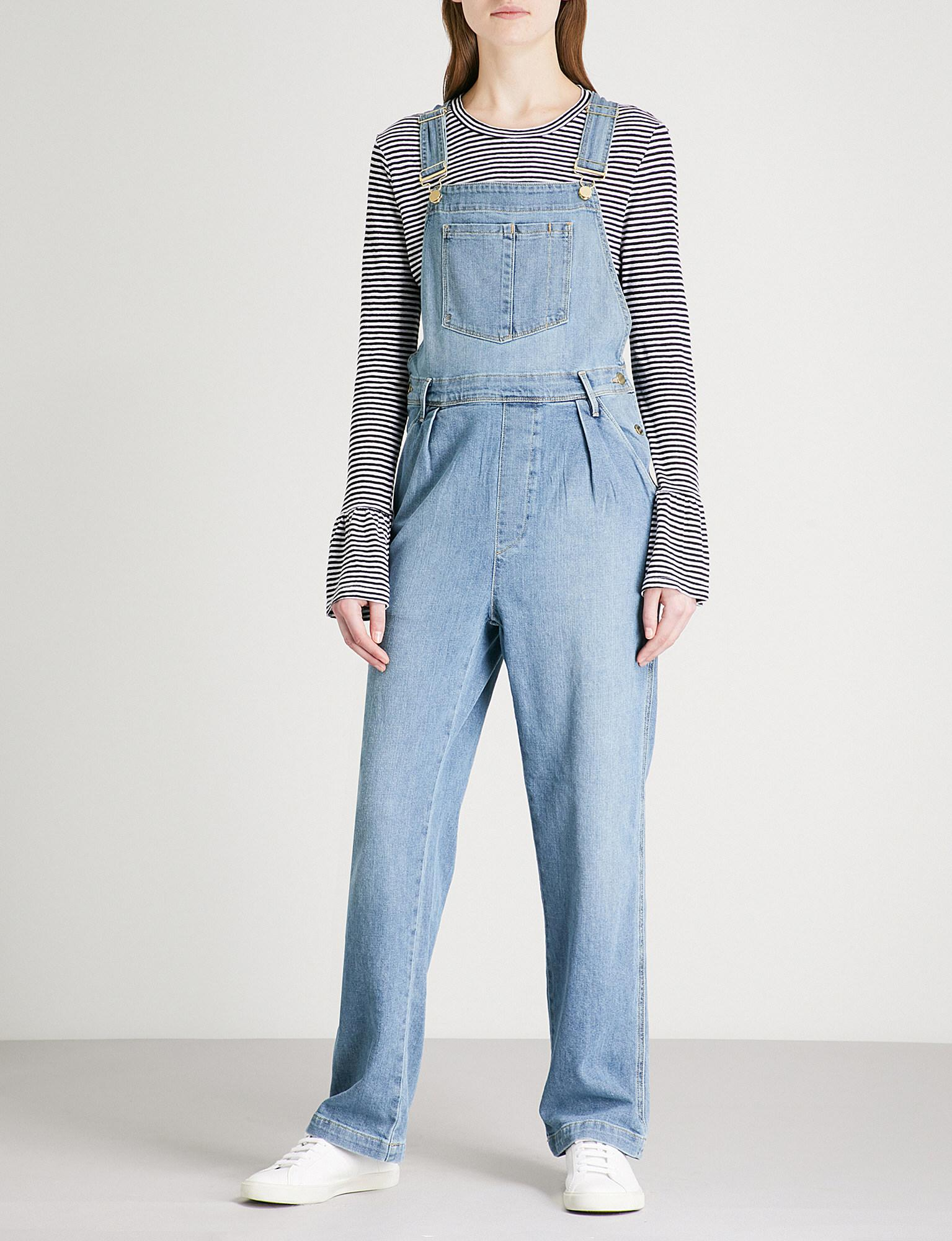 Lyst - Frame Le Baggy Stretch-denim Dungarees in Blue