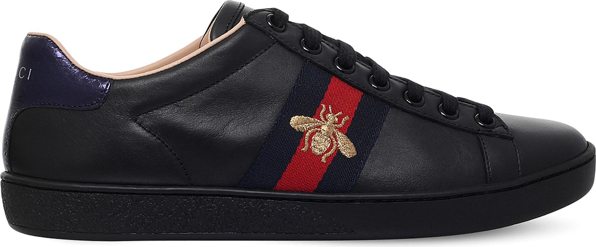5dc7b3793be Gucci Ladies New Ace Bee-embroidered Leather Trainers in Black - Lyst