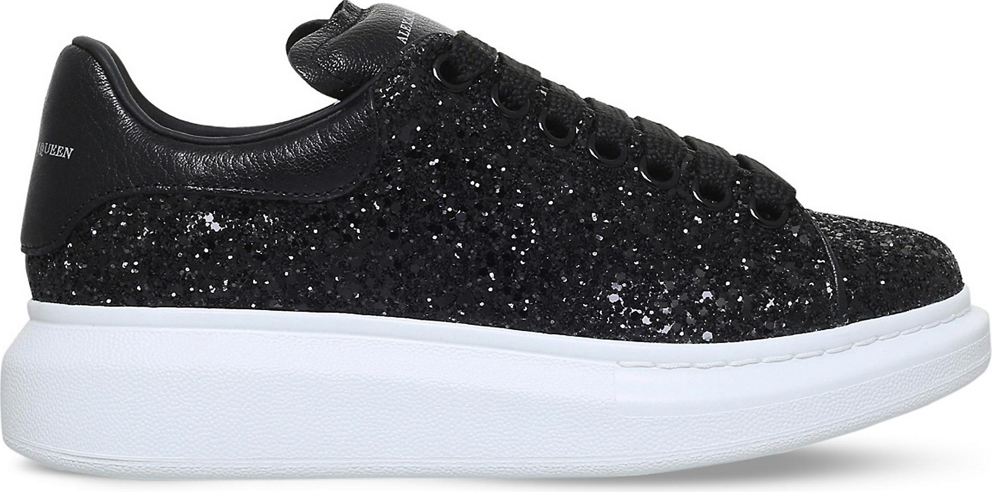 Women's Black Lace-up Glitter Sneakers
