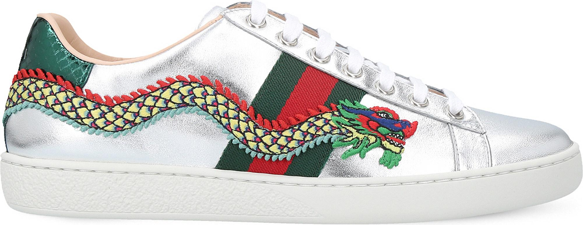 Ace Dragon-embellished Leather Trainers