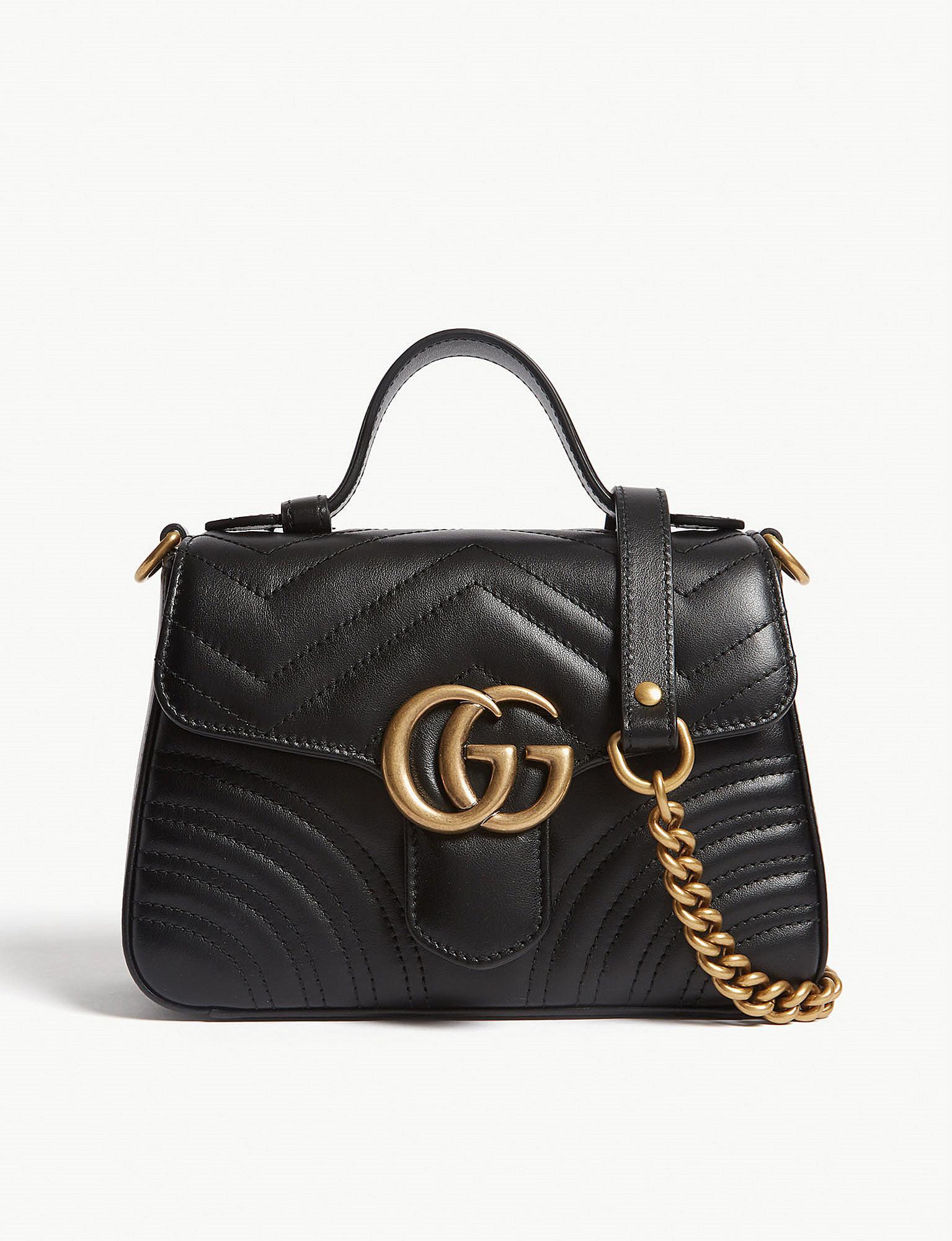 b0a99efed937 Lyst - Gucci Mini Marmont Shoulder Bag in Black - Save 36%
