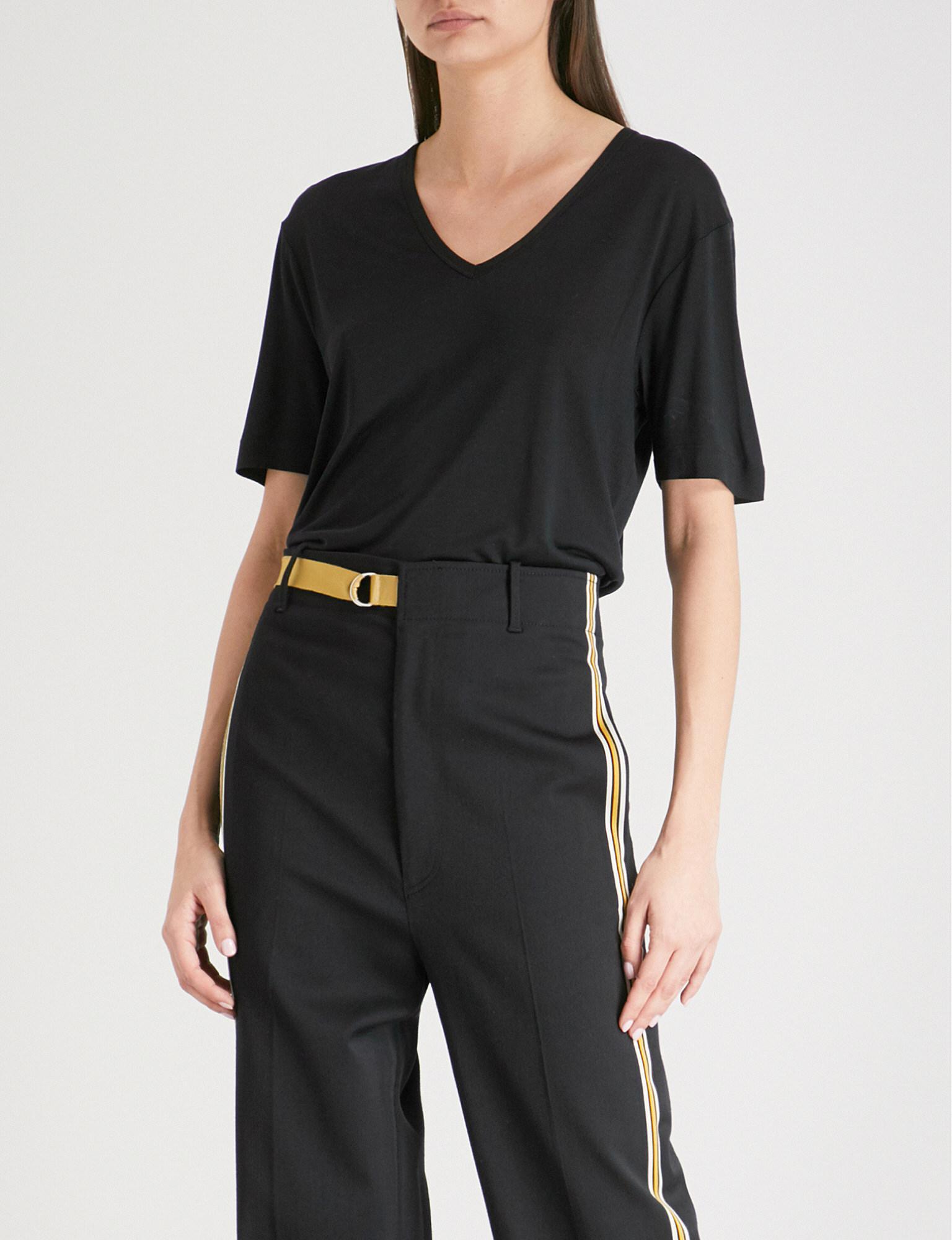 c564818076d66 JOSEPH V-neck Silk T-shirt in Black - Lyst