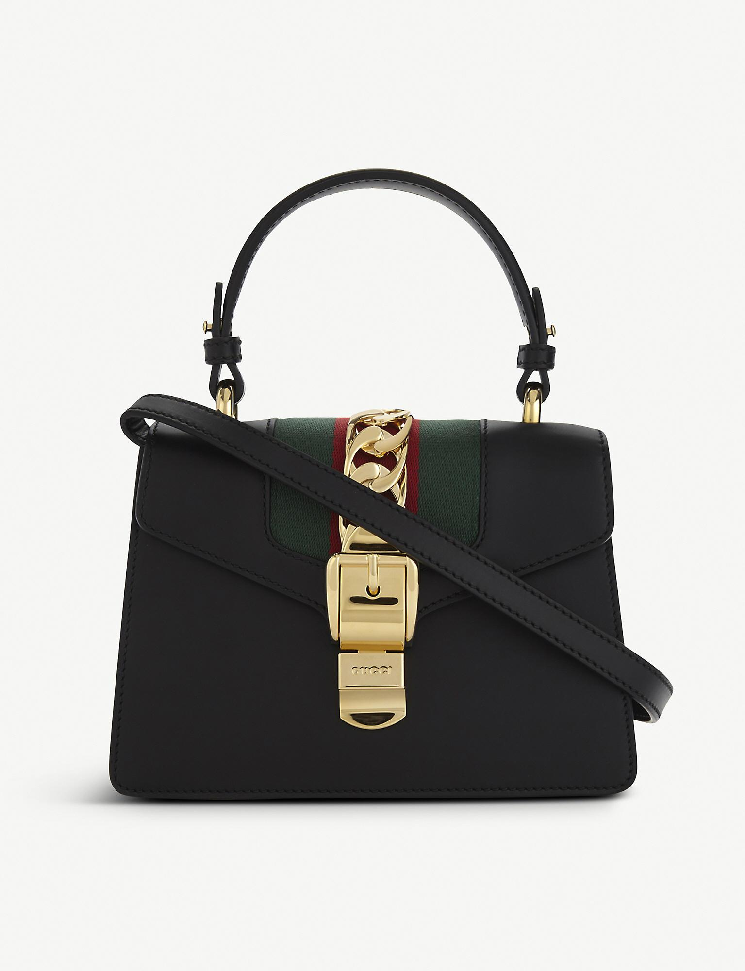 1afd323069c597 Gucci Sylvie Leather Cross-body Bag in Black - Lyst