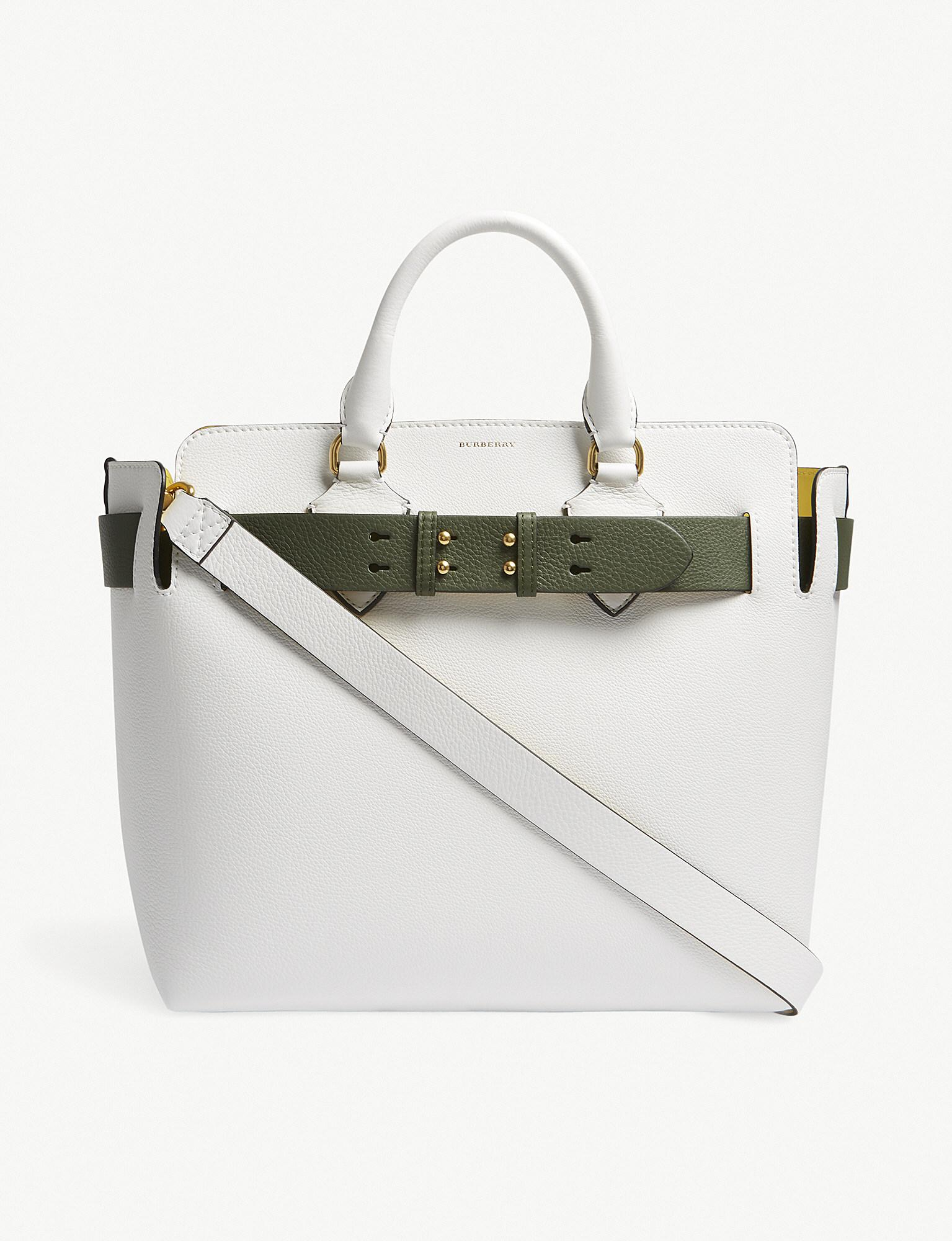69225ff0cf11 Lyst - Burberry Belt Medium Leather Tote Bag in White