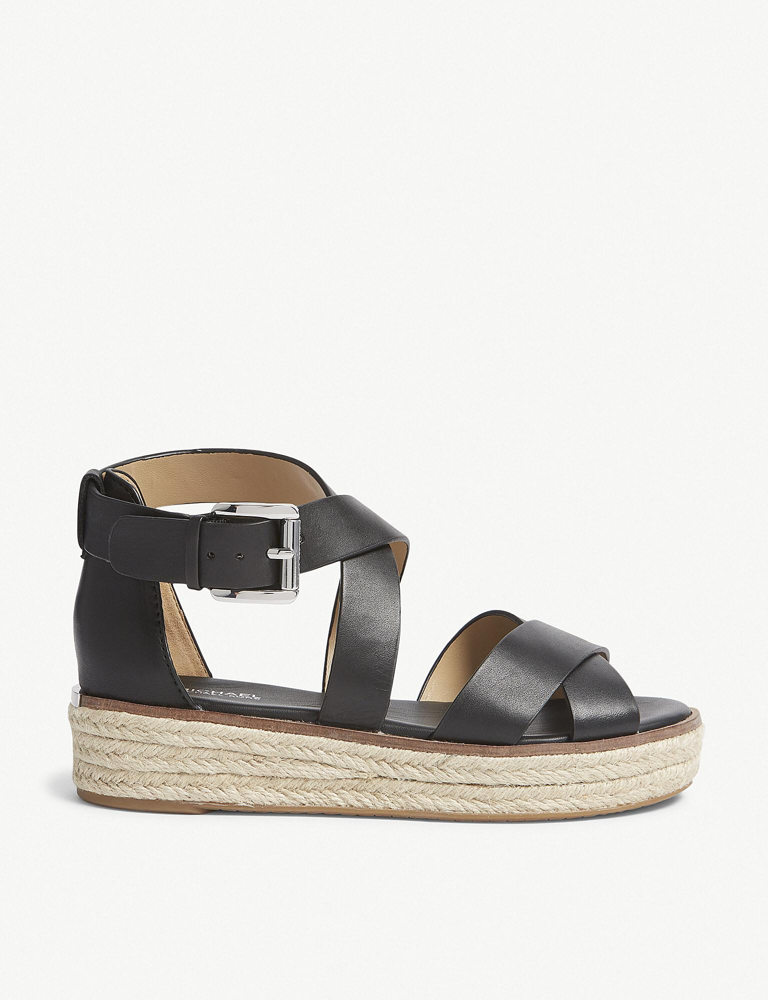 be320305a8a9 Lyst - Michael Michael Kors Darby Strappy Leather Sandals in Black