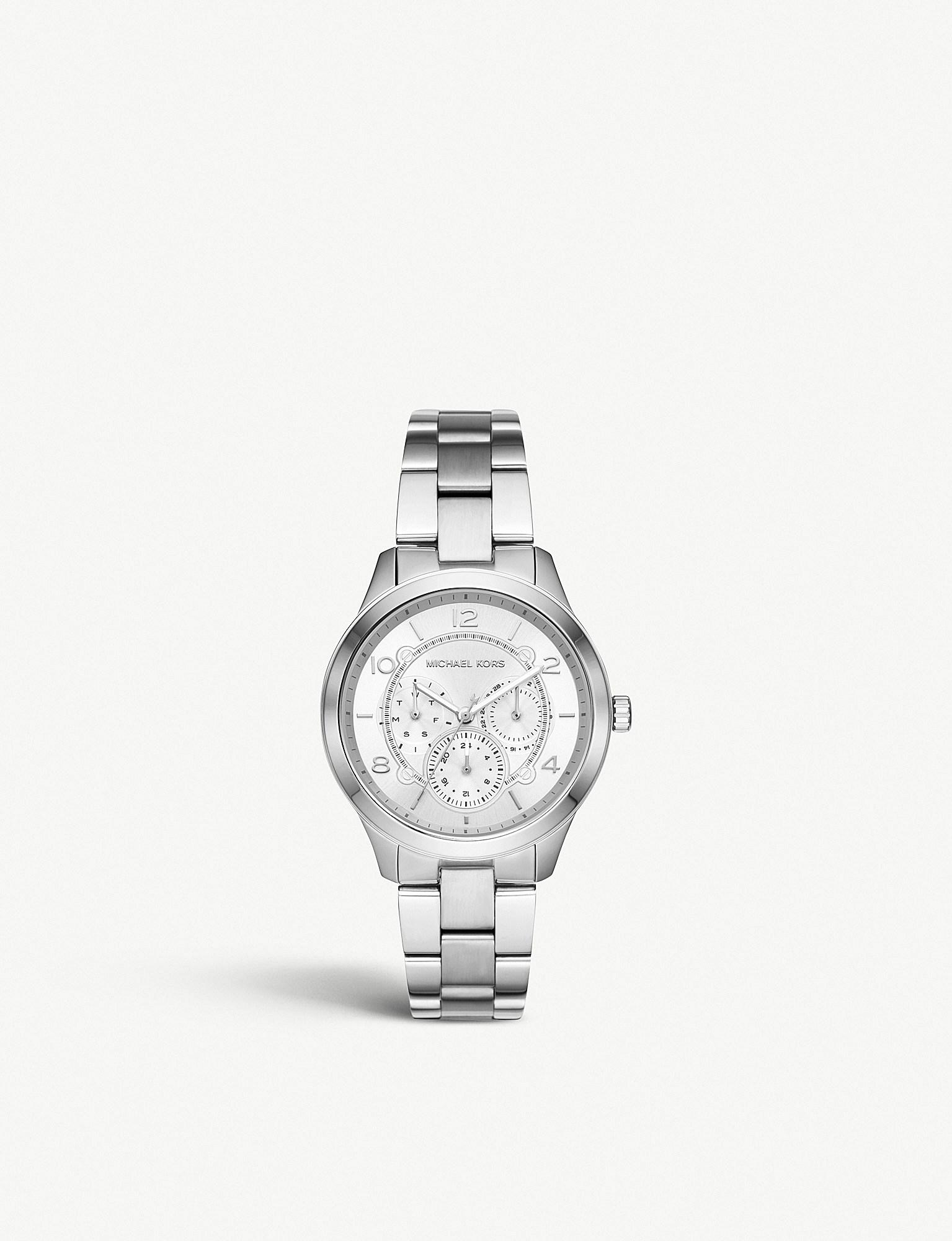 b5c6dfc8c5e Lyst - Michael Kors Mk5428 Runway Stainless Steel Watch in Metallic