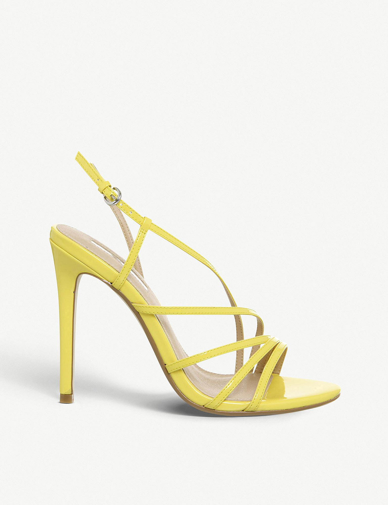 7c63999152 Office Hamsa Faux-leather Heeled Sandals in Yellow - Lyst