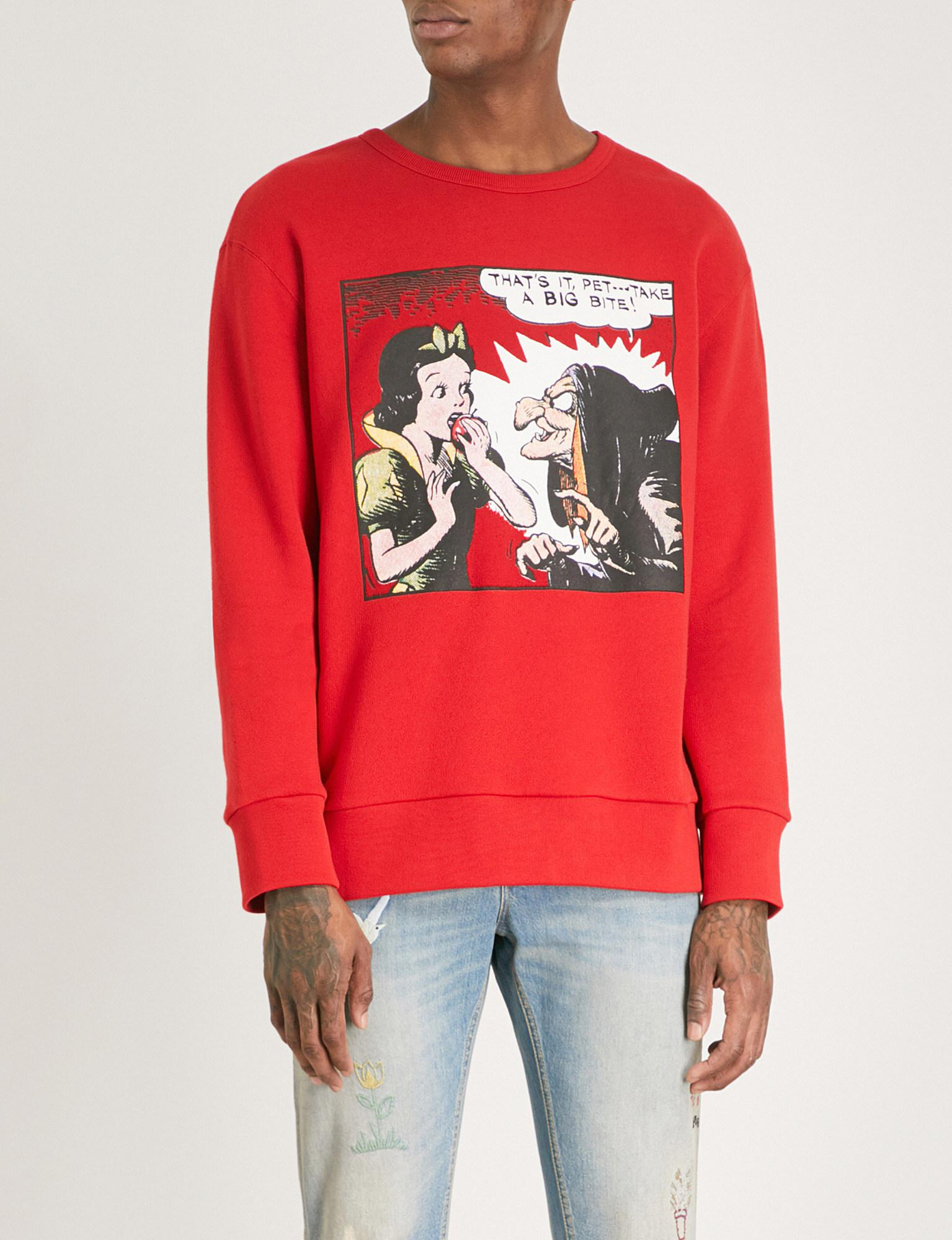 05f751b8 Gucci Snow White Cotton Sweatshirt in Red for Men - Lyst