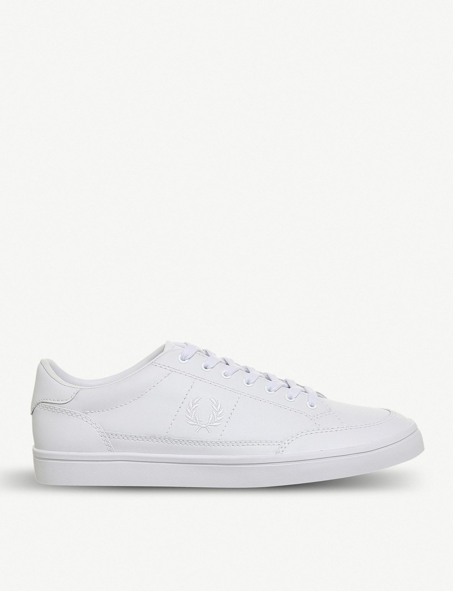 4ea87f4668b72 Fred Perry White Deuce Leather Tennis Trainers