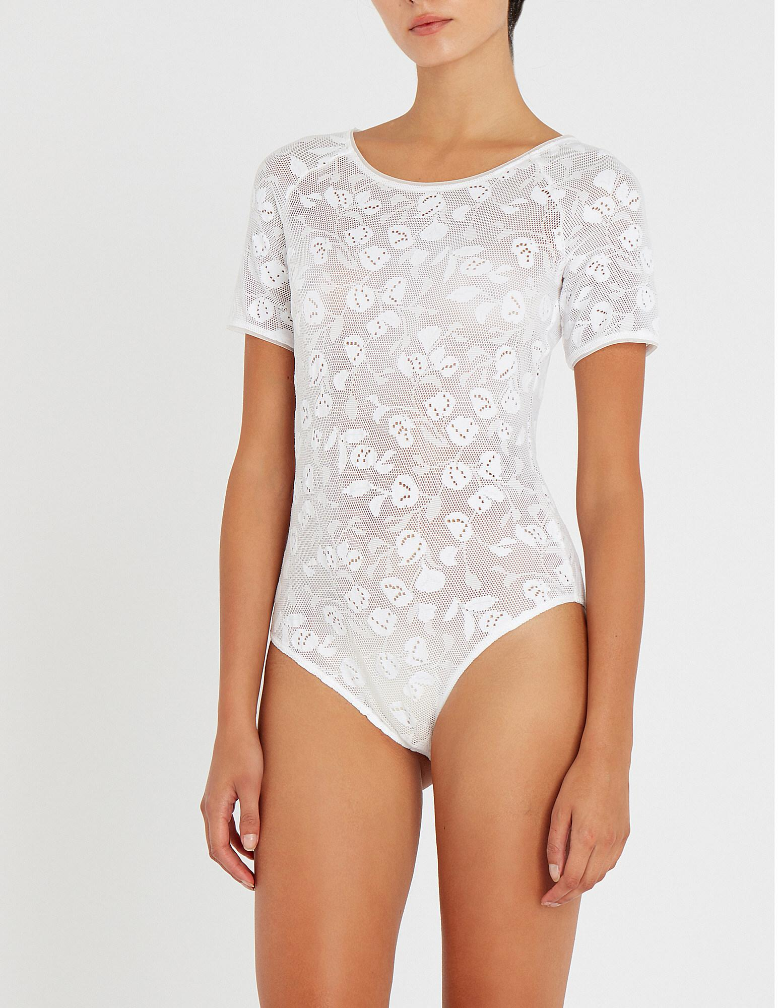 e4a1808bfcab Wolford Rachel Lace Body in White - Lyst