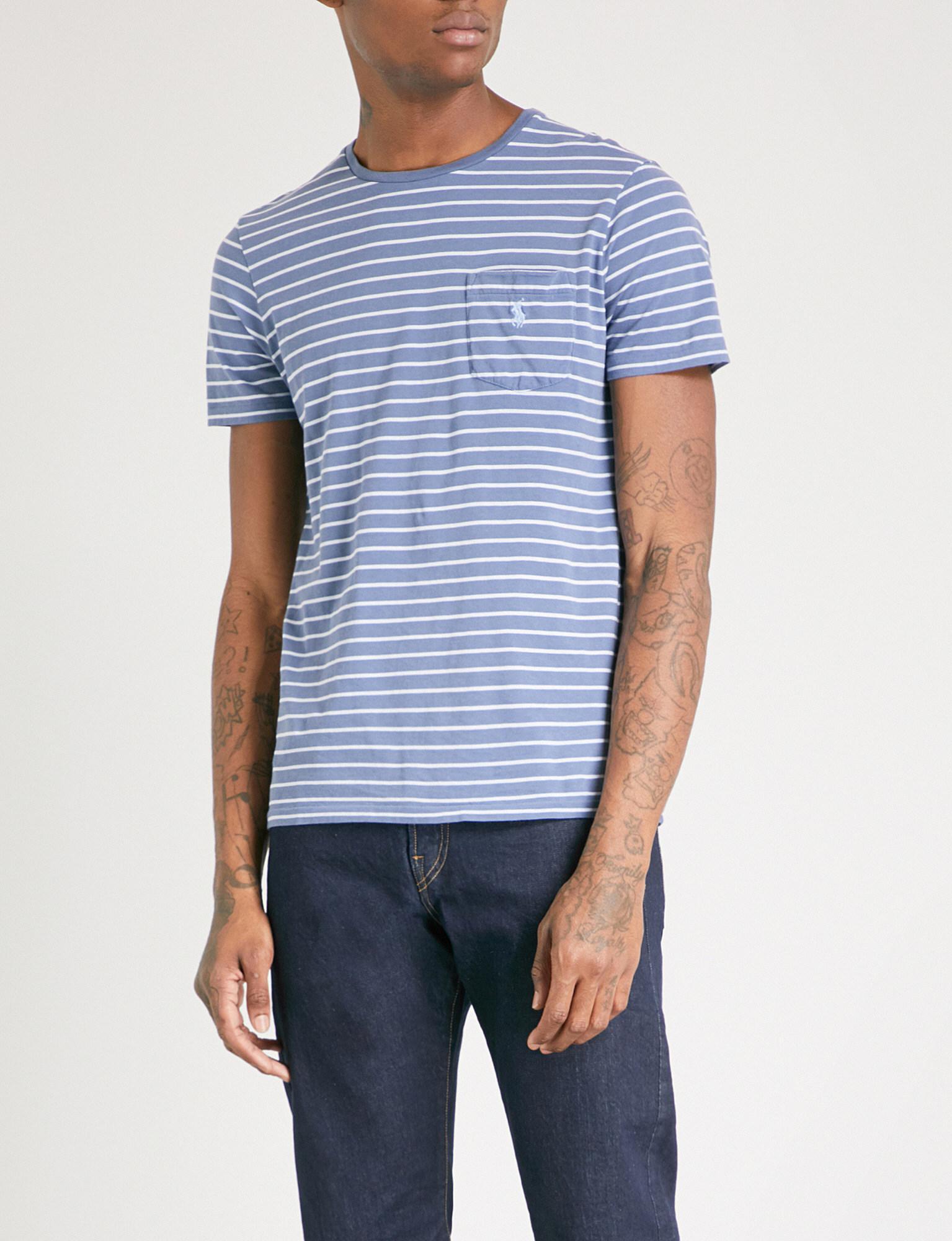 Polo ralph lauren striped cotton jersey t shirt in blue for Ralph lauren polo jersey shirt