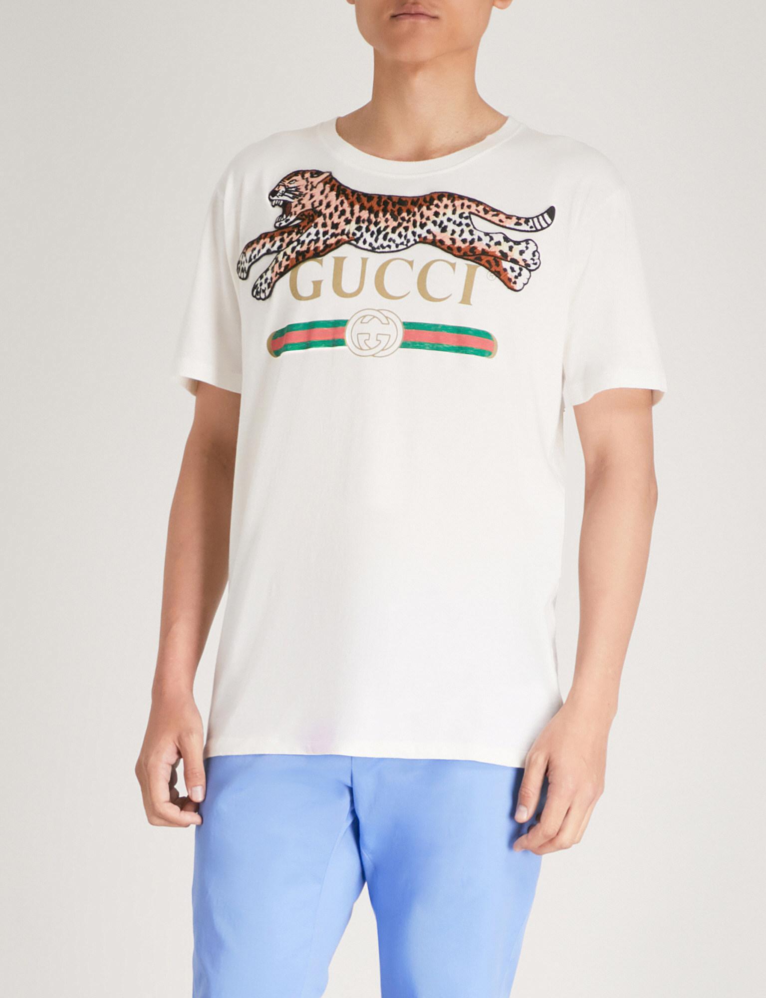 2e3d45d2222e Gucci Leopard-embroidered Logo-print Cotton-jersey T-shirt in White ...
