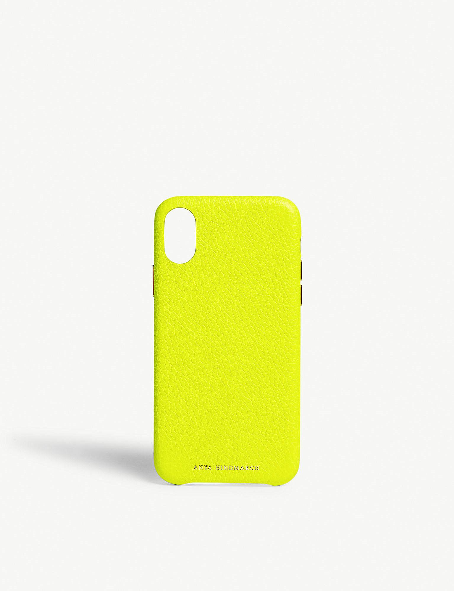 8a8386bd Anya Hindmarch Yellow Neon Leather Iphone X Case