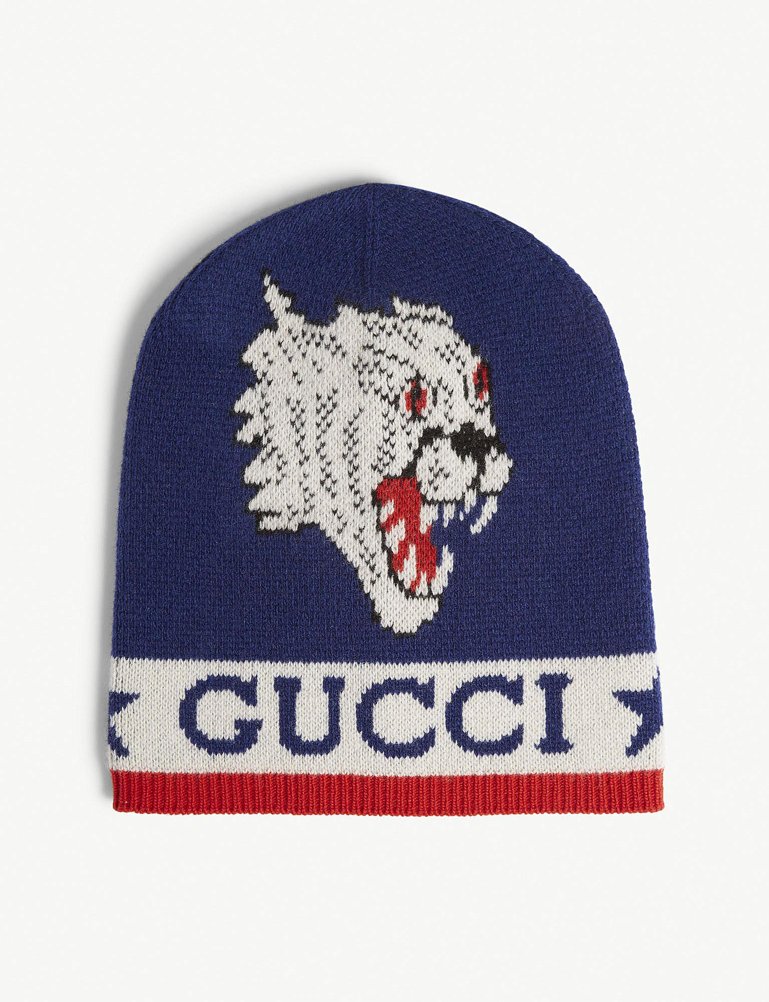79bd429c973 Gucci - Blue Tiger Applique Knitted Wool Beanie for Men - Lyst. View  fullscreen