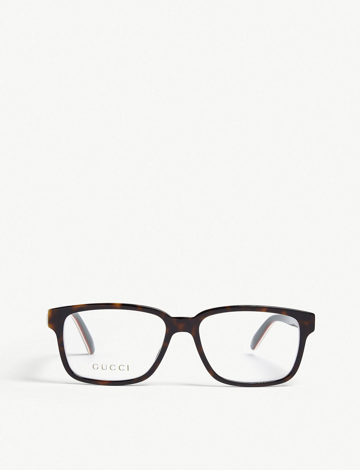 af7be512c38 Gucci - Black GG0272O Tortoiseshell Rectangle Glasses for Men - Lyst. View  fullscreen