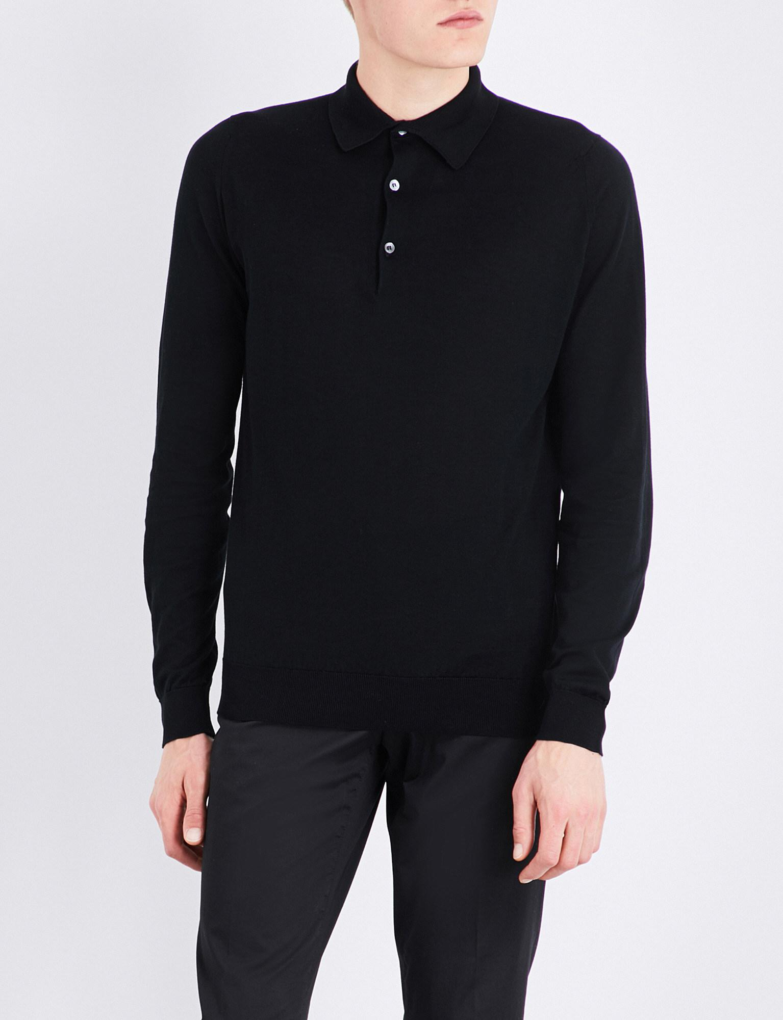 ddeb2d0d Lyst - John Smedley Bradwell Knitted Polo Jumper in Black for Men