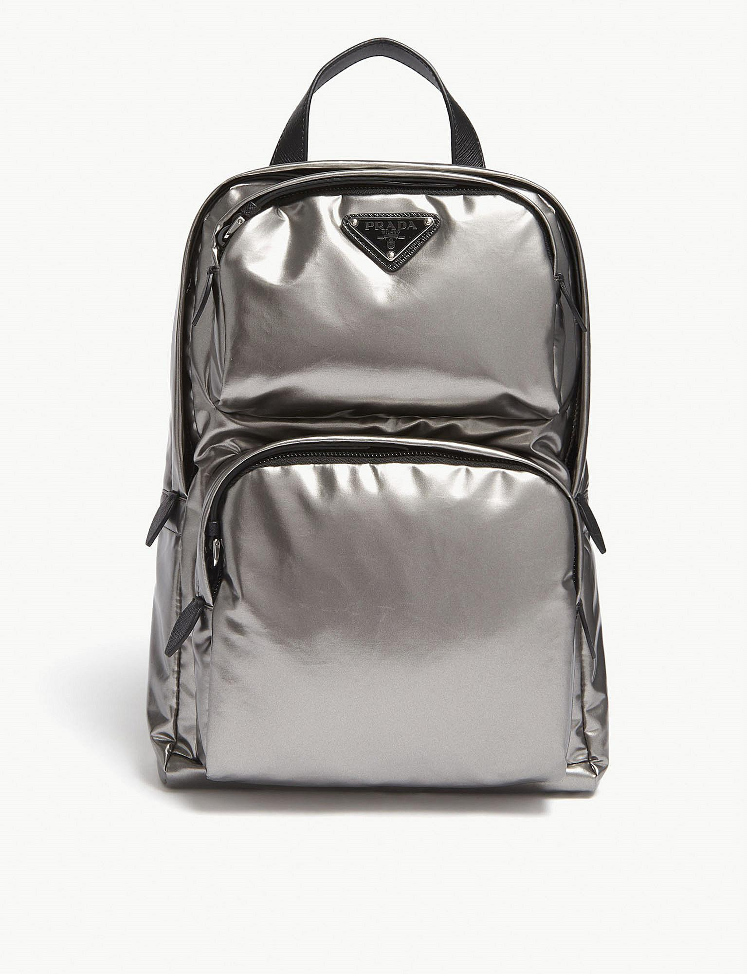 efaefc0aa586a8 ... low cost lyst prada metallic silver leather technical backpack in  metallic e25fe 63fa4
