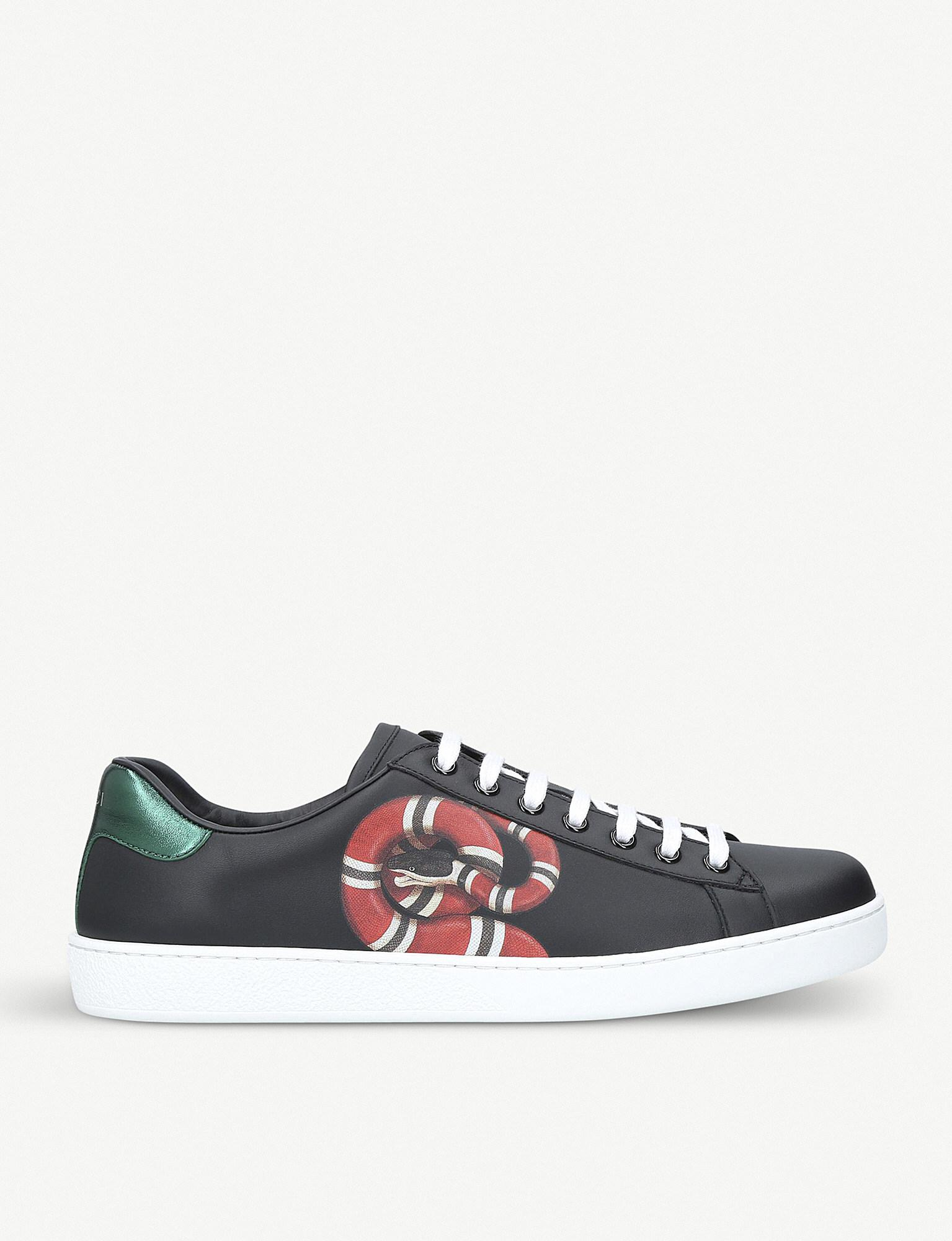 90b1dbd65af Gucci New Ace Embroidered-snake Leather Trainers in Black for Men ...