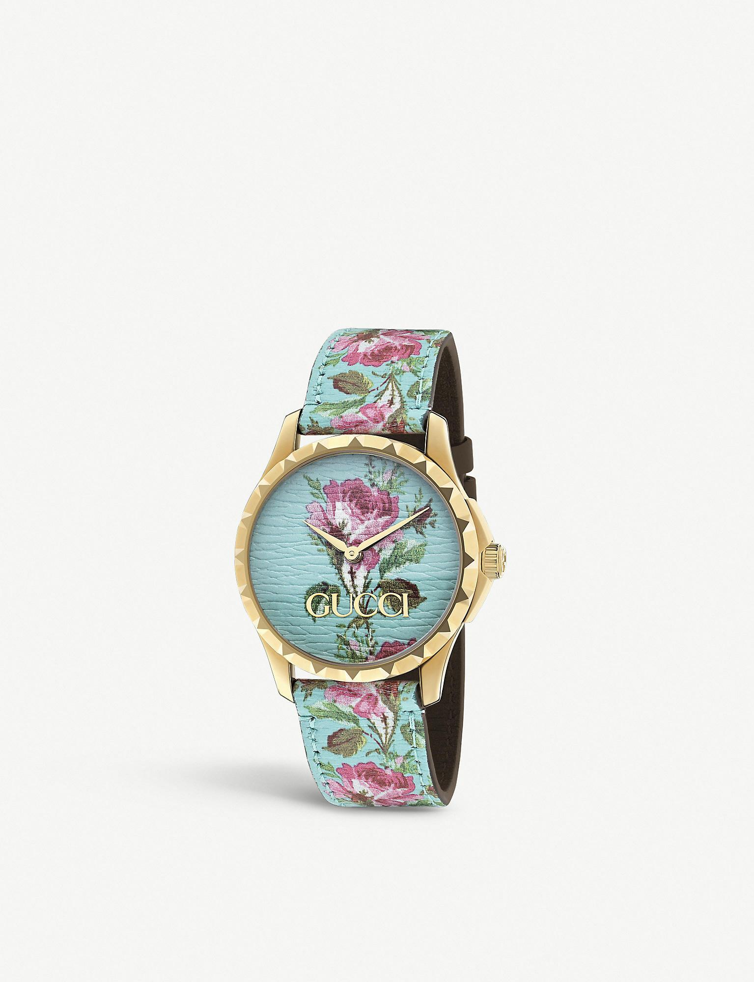 fada0679e3d Gucci - Ya1264085 G-timeless Yellow-gold Pvd And Leather Watch - Lyst. View  fullscreen
