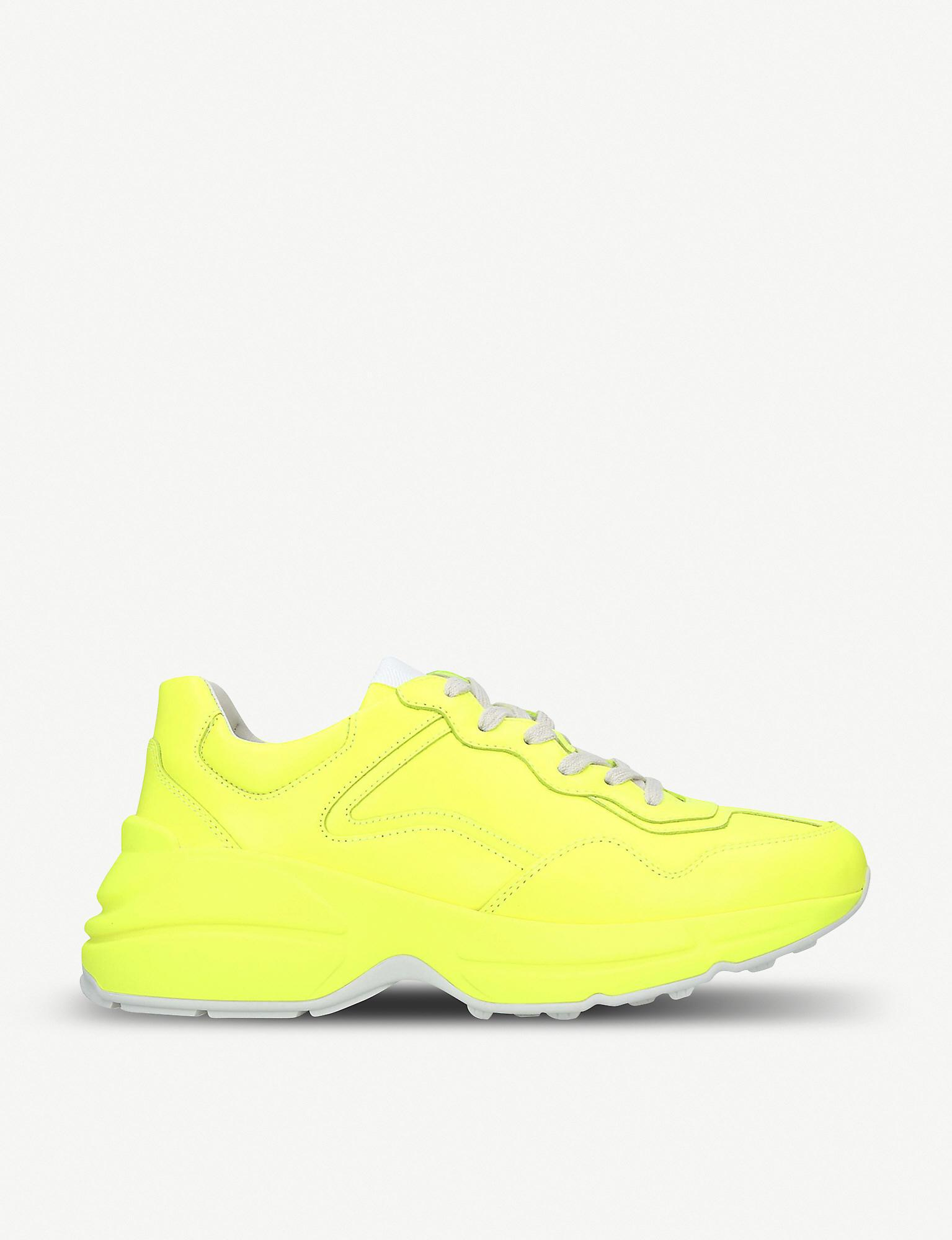 Gucci Rhyton Neon Leather Trainers in