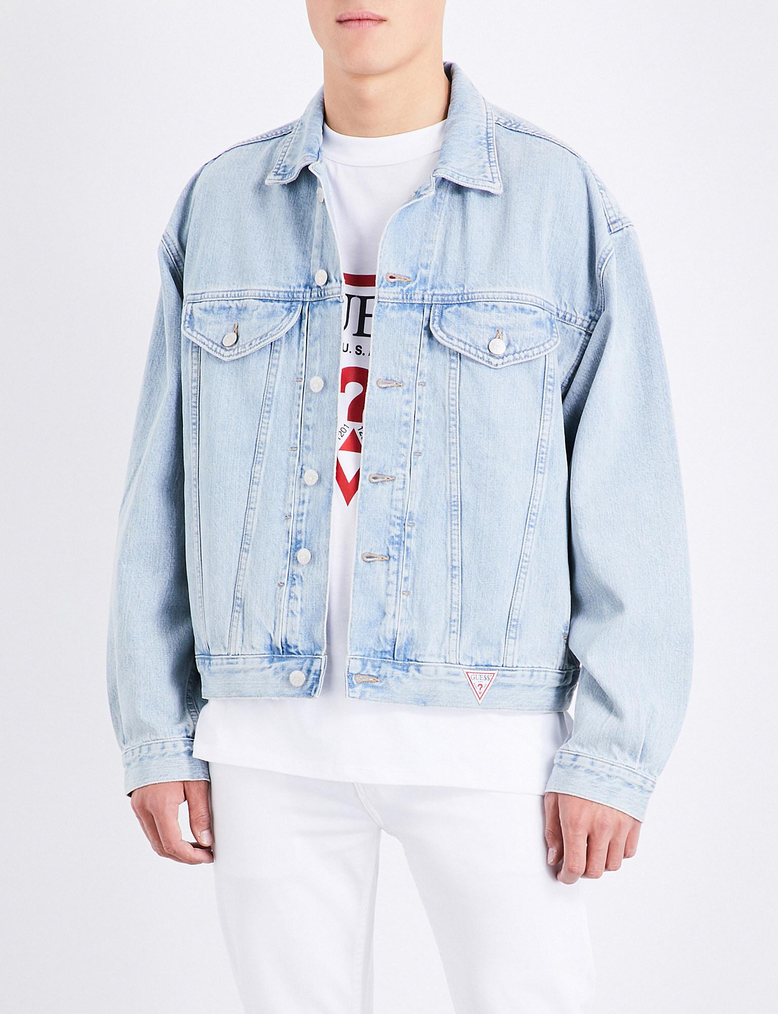 f060398fd6e Lyst - Guess Logo-embroidered Denim Jacket in Blue for Men