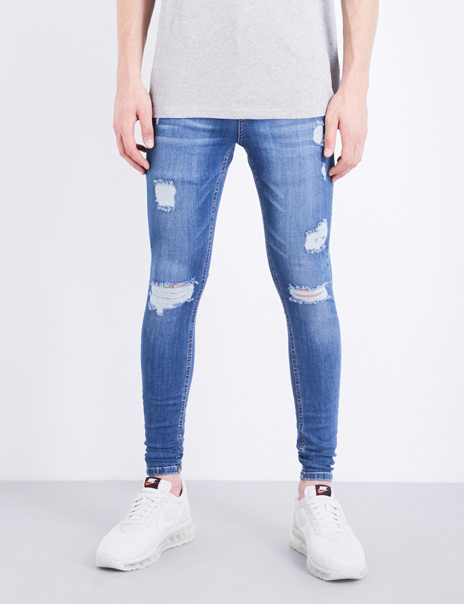 b8593e6a843 HERA Spray-on Rip Repair Slim-fit Skinny Jeans in Blue for Men - Lyst