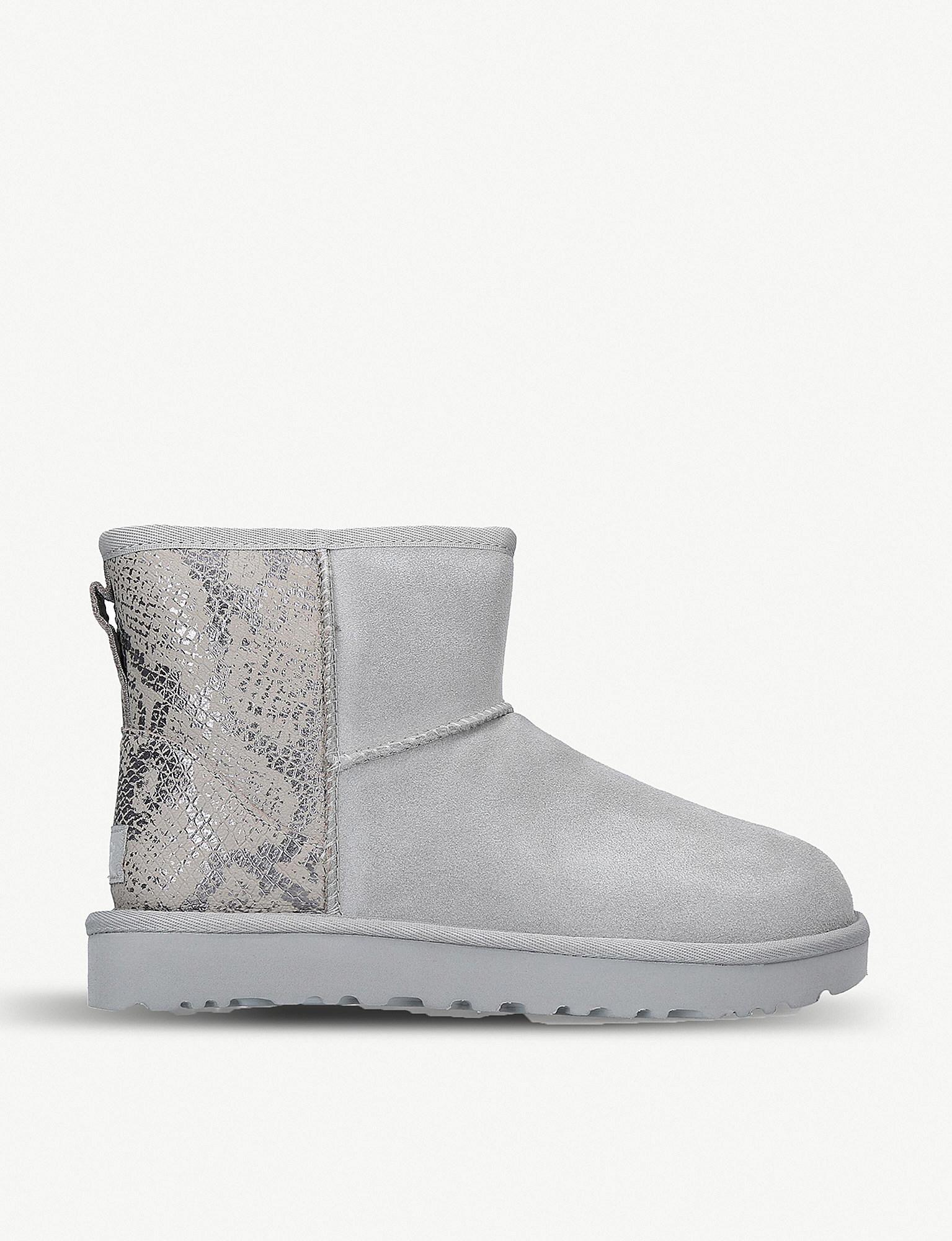 b66f5b9e71c UGG Classic Mini Metallic Snake-print Sheepskin Boots in Metallic - Lyst