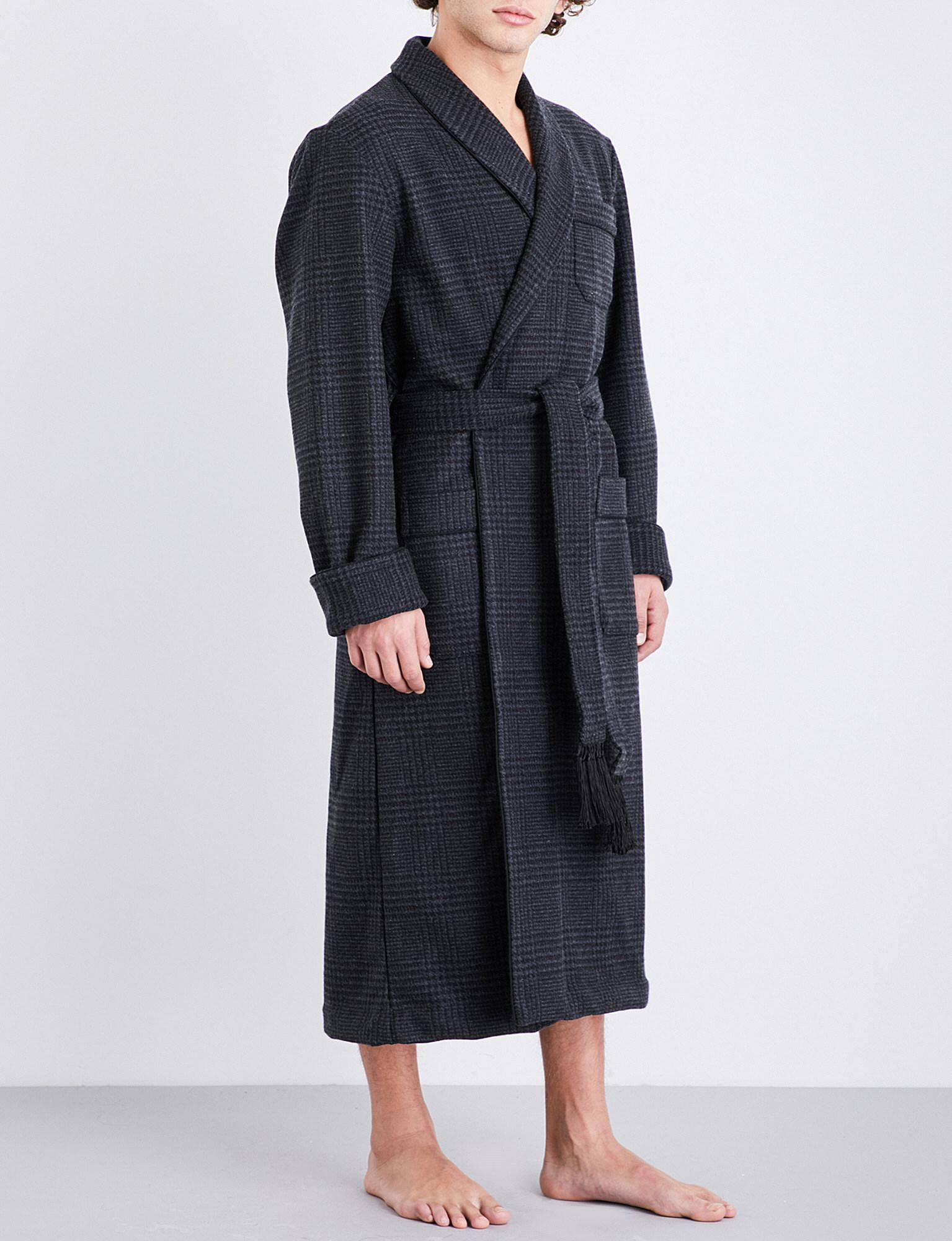 lowest price perfect quality suitable for men/women Derek Rose Gray Blandford Houndstooth Wool And Cashmere-blend Dressing Gown  for men