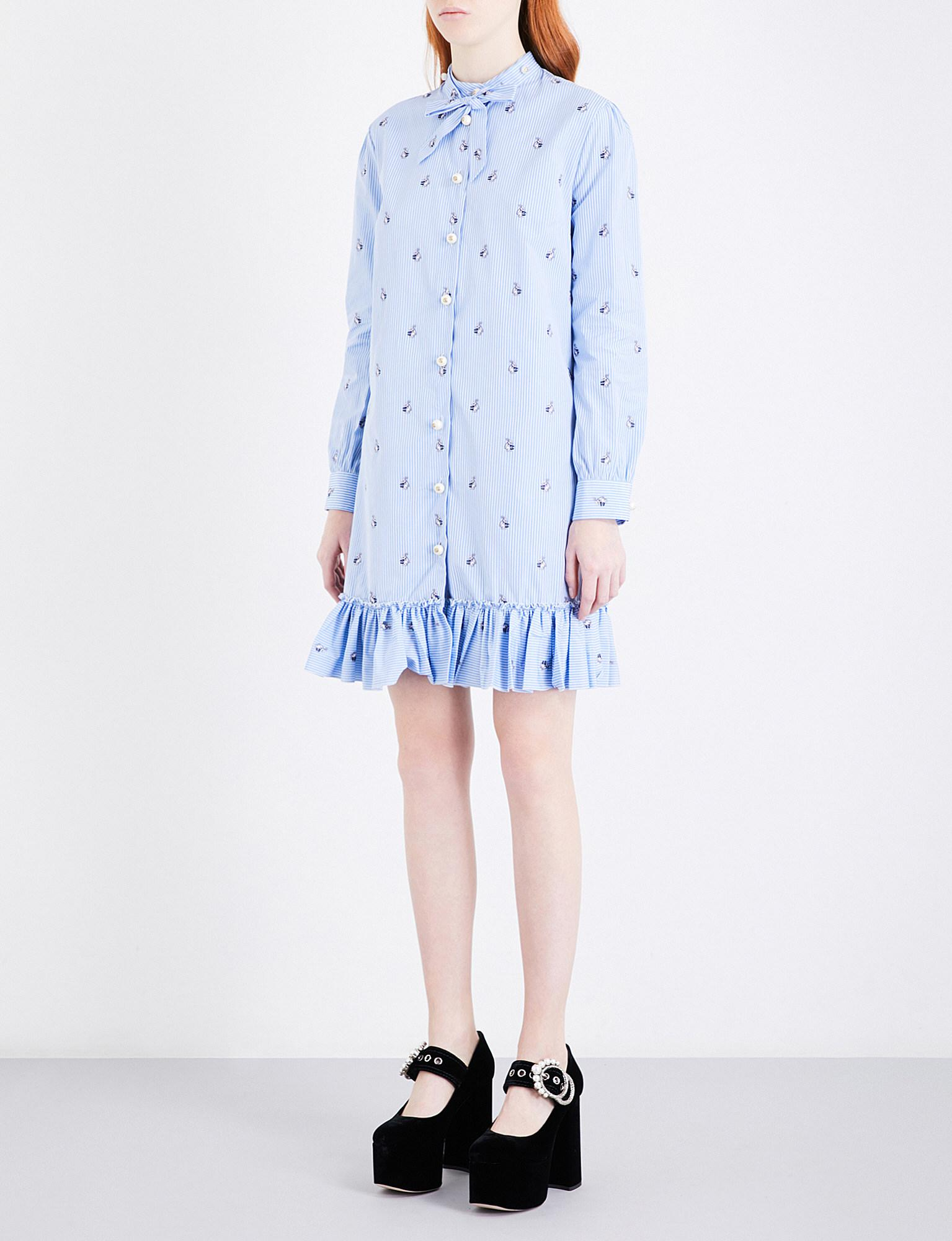 Lyst Gucci Rabbit embroidered Cotton Dress in Blue