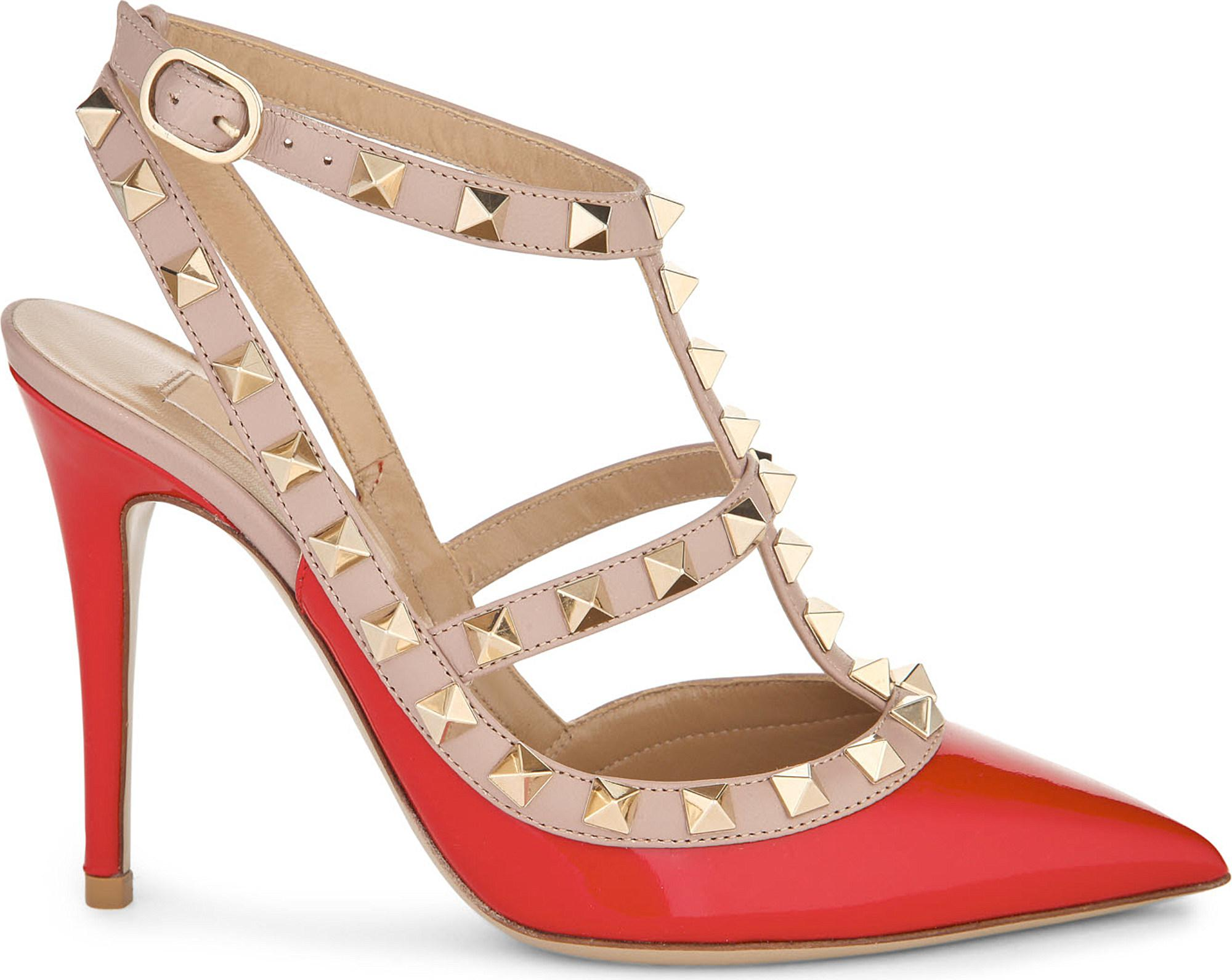 aaf9e778320d Valentino Rockstud 100 Patent-leather Courts in Red - Lyst