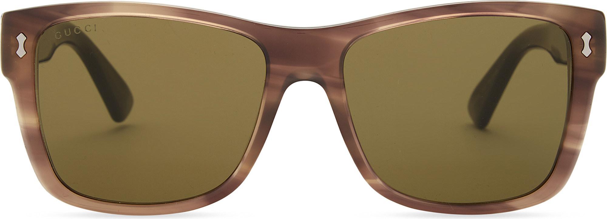 ff55ba18e5d Gucci - Brown Gg0052s Square-frame Sunglasses - Lyst. View fullscreen