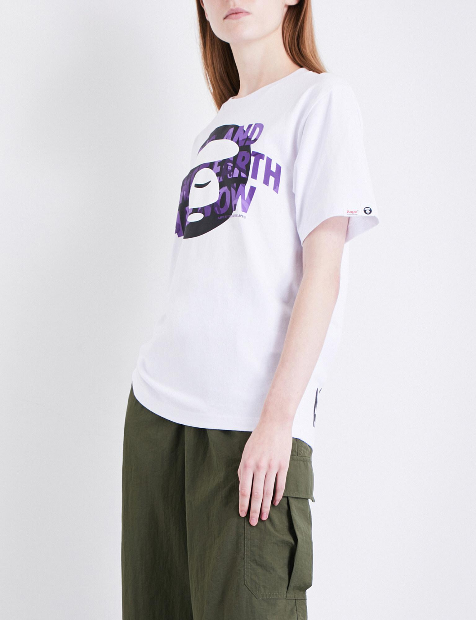 print from iphone lyst aape weekend cotton t shirt in white 12808