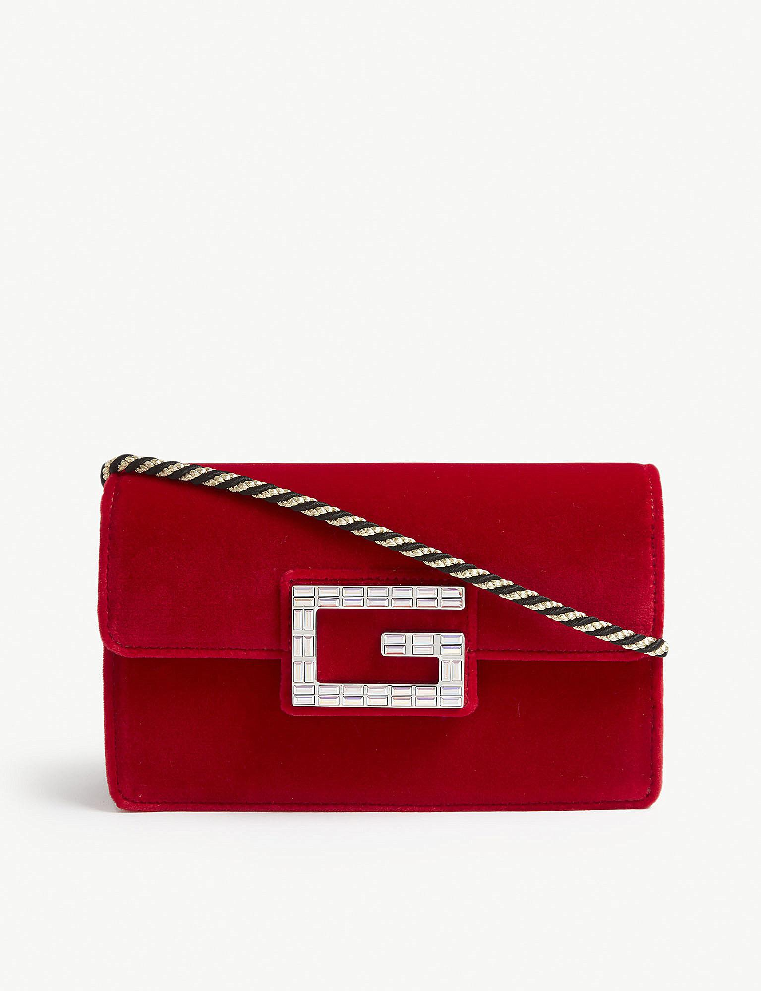 75f2189b5ee3 Gucci Broadway Crystal G Velvet Cross Body Bag in Red - Save 7% - Lyst