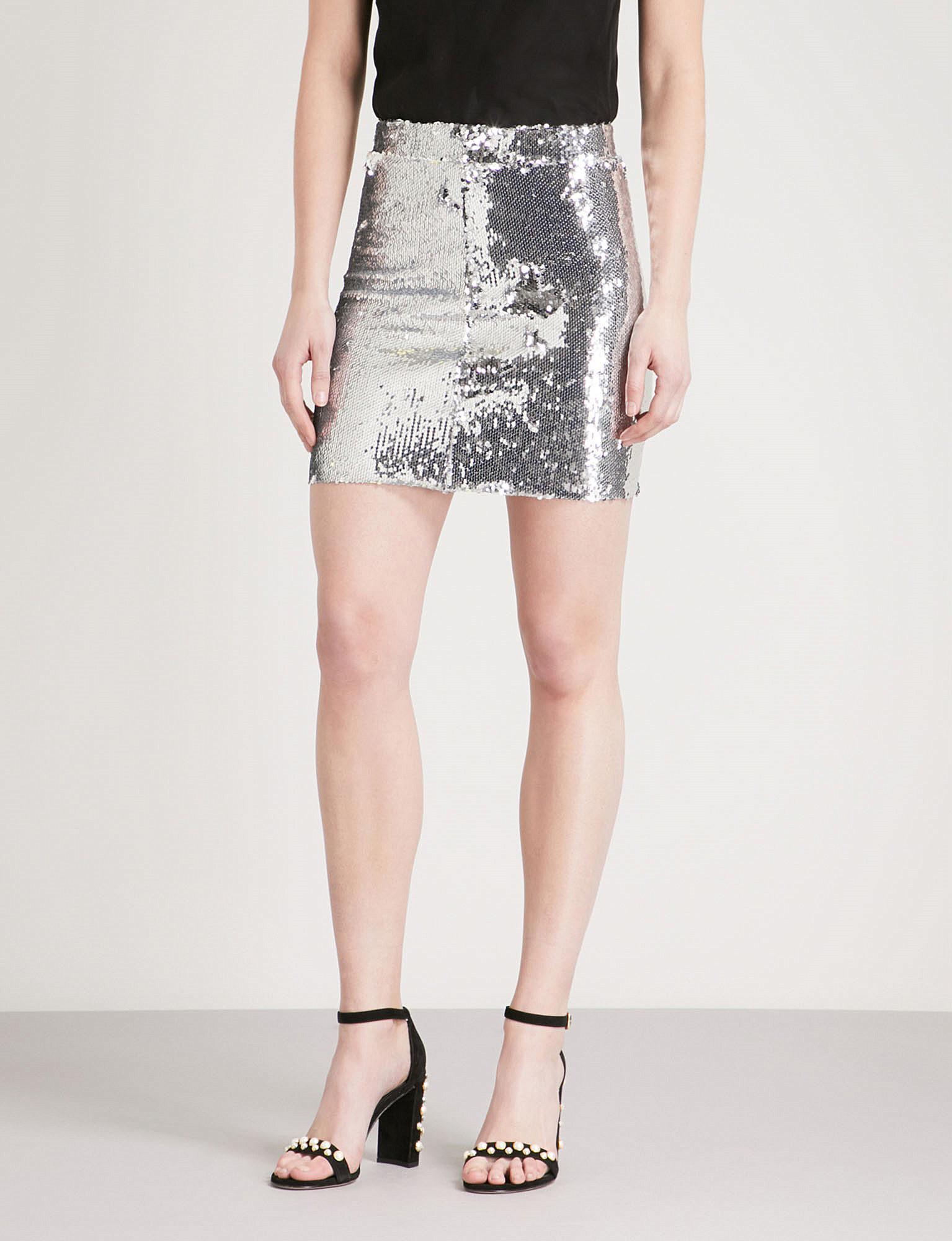 c6f5c6cb09 Mo&co. High-rise Sequin Skirt in Metallic - Lyst