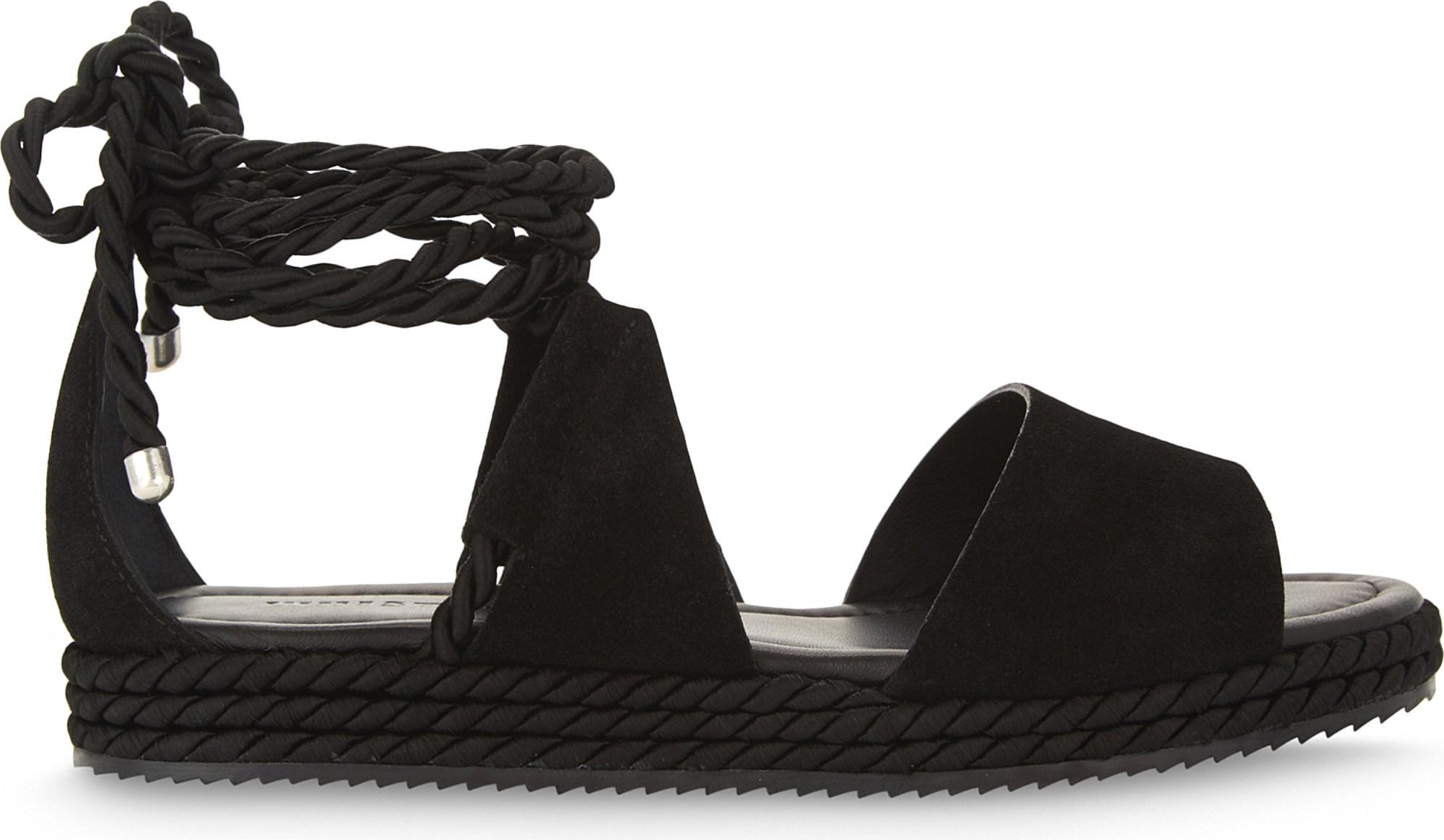 Cheap Whistles Black Mimosa Suede Flatform Sandals for Women On Sale