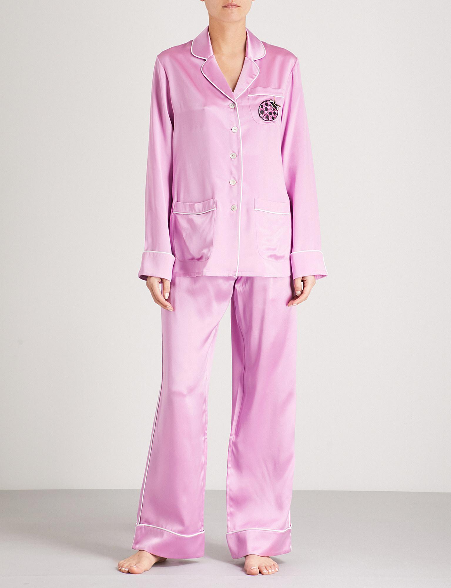 Olivia Von Halle Coco Shirley Silk-satin Pyjama Set in Pink - Lyst 23938e9d8