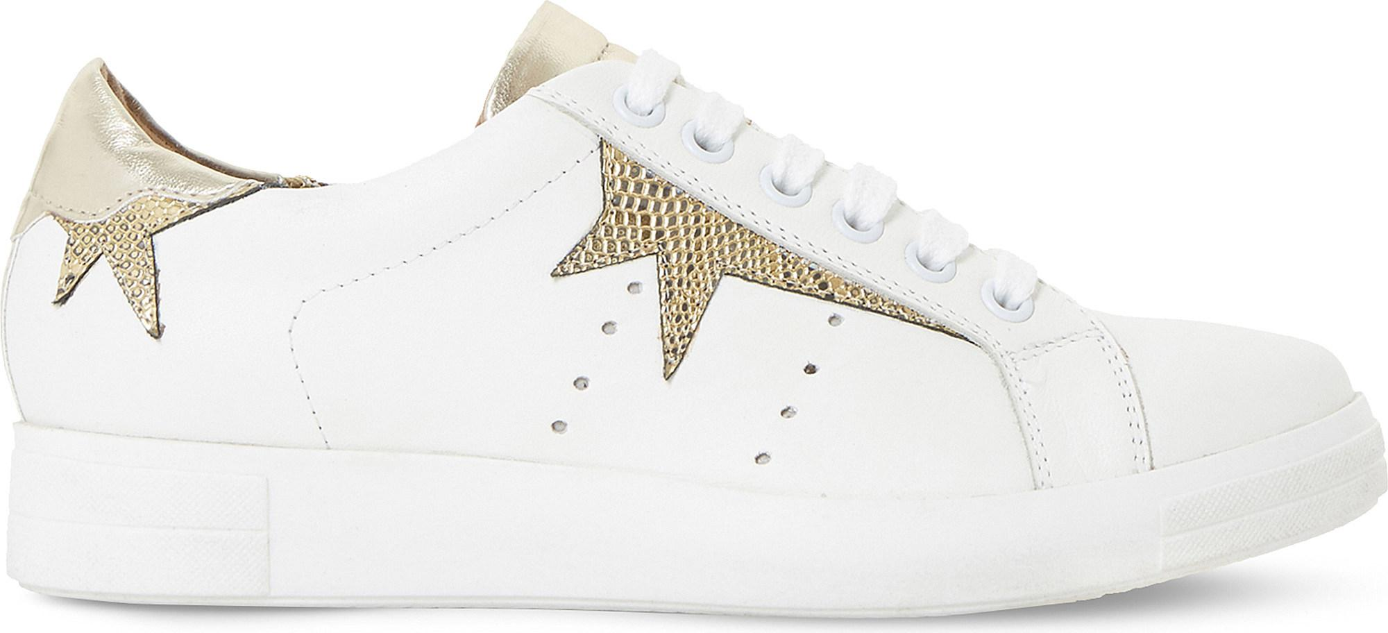 Latest Dune Gold-Metalic Equel Leather Star Trainers for Women Sale