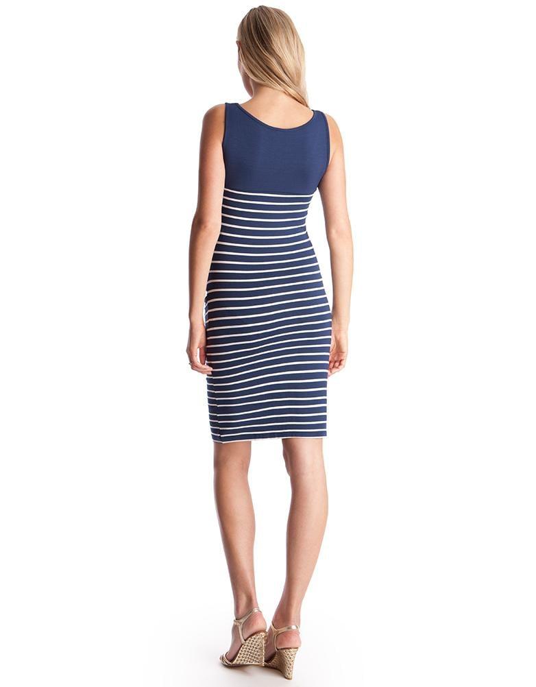 972220f2f57 Lyst - Seraphine Nautical Stripe Bodycon Maternity Dress in Blue