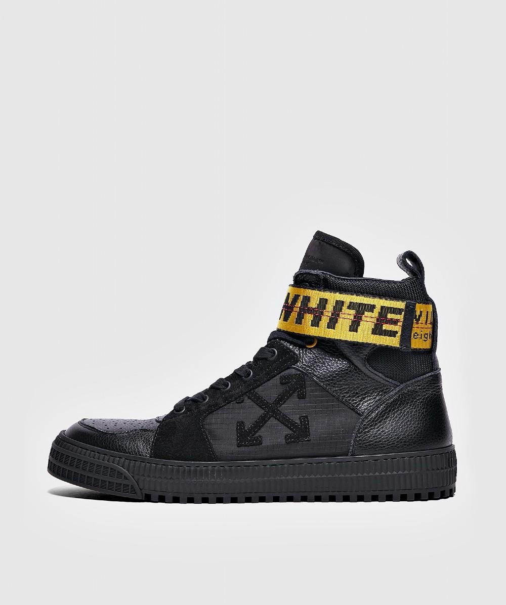 03972294693a Off-White c o Virgil Abloh. Men s Black Suede And Leather Hi-top Trainers
