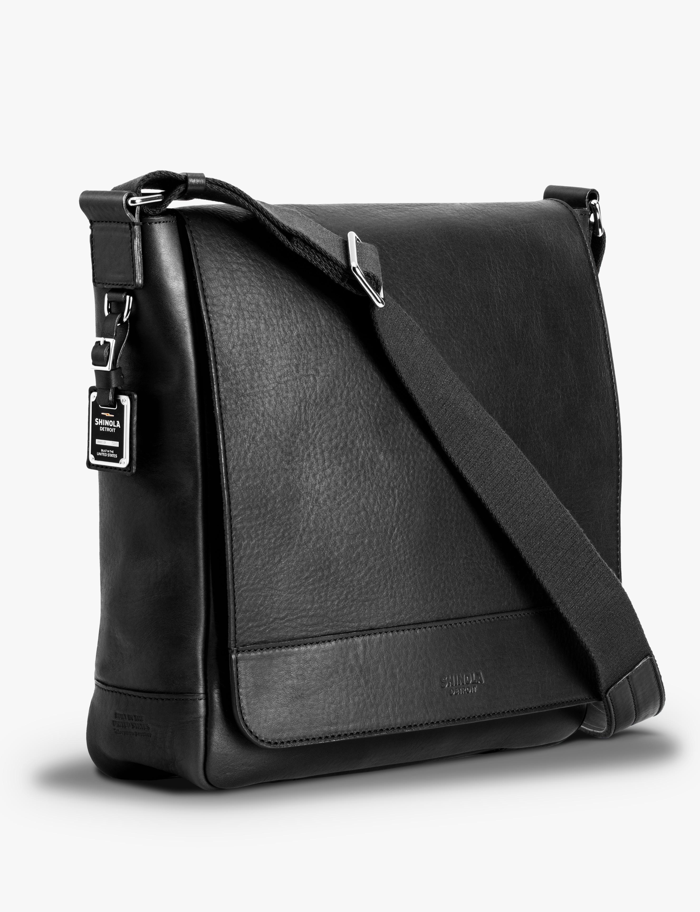 USA $695 SHINOLA Detroit North South Leather Messenger Bag in Black NEW!